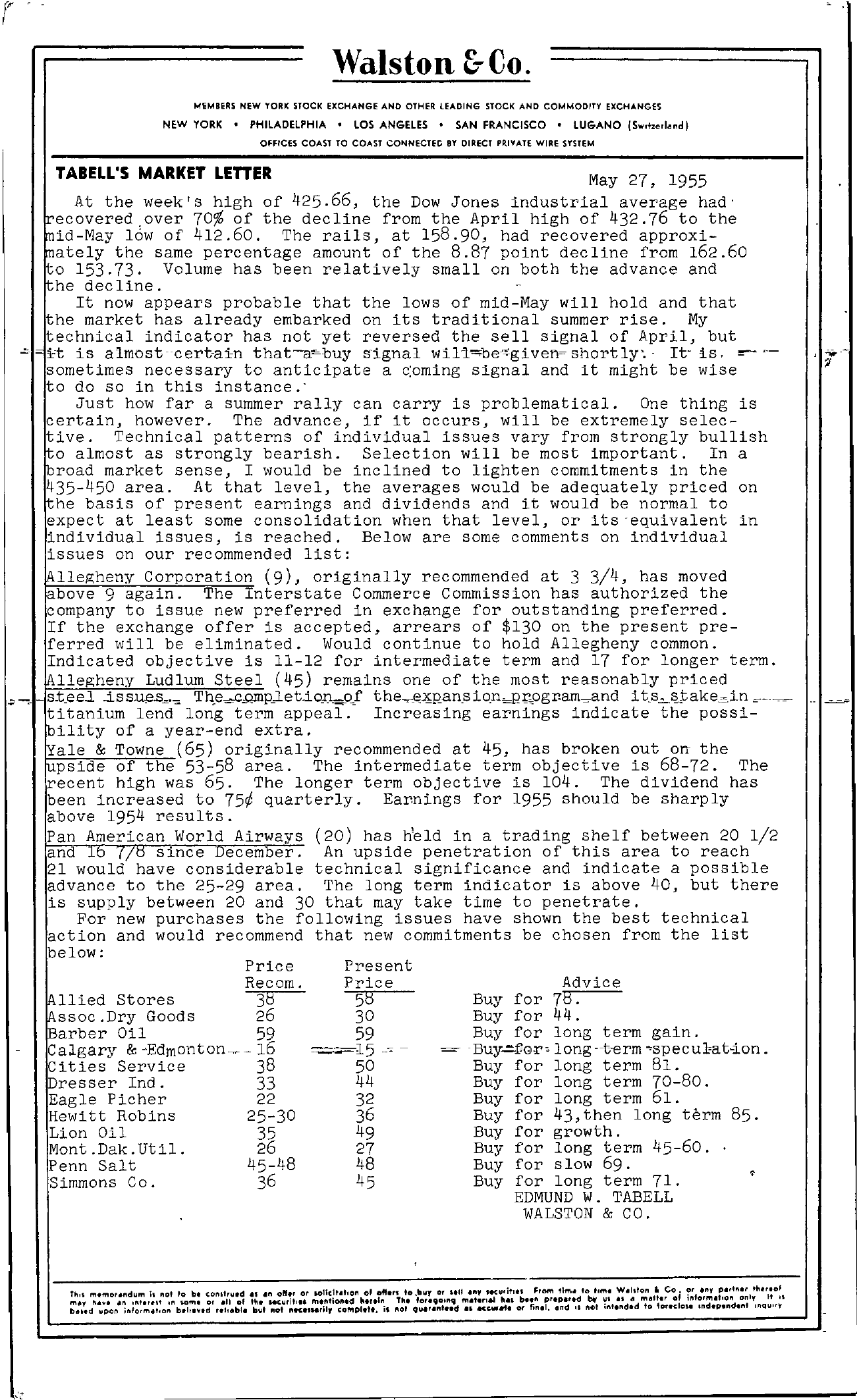 Tabell's Market Letter - May 27, 1955