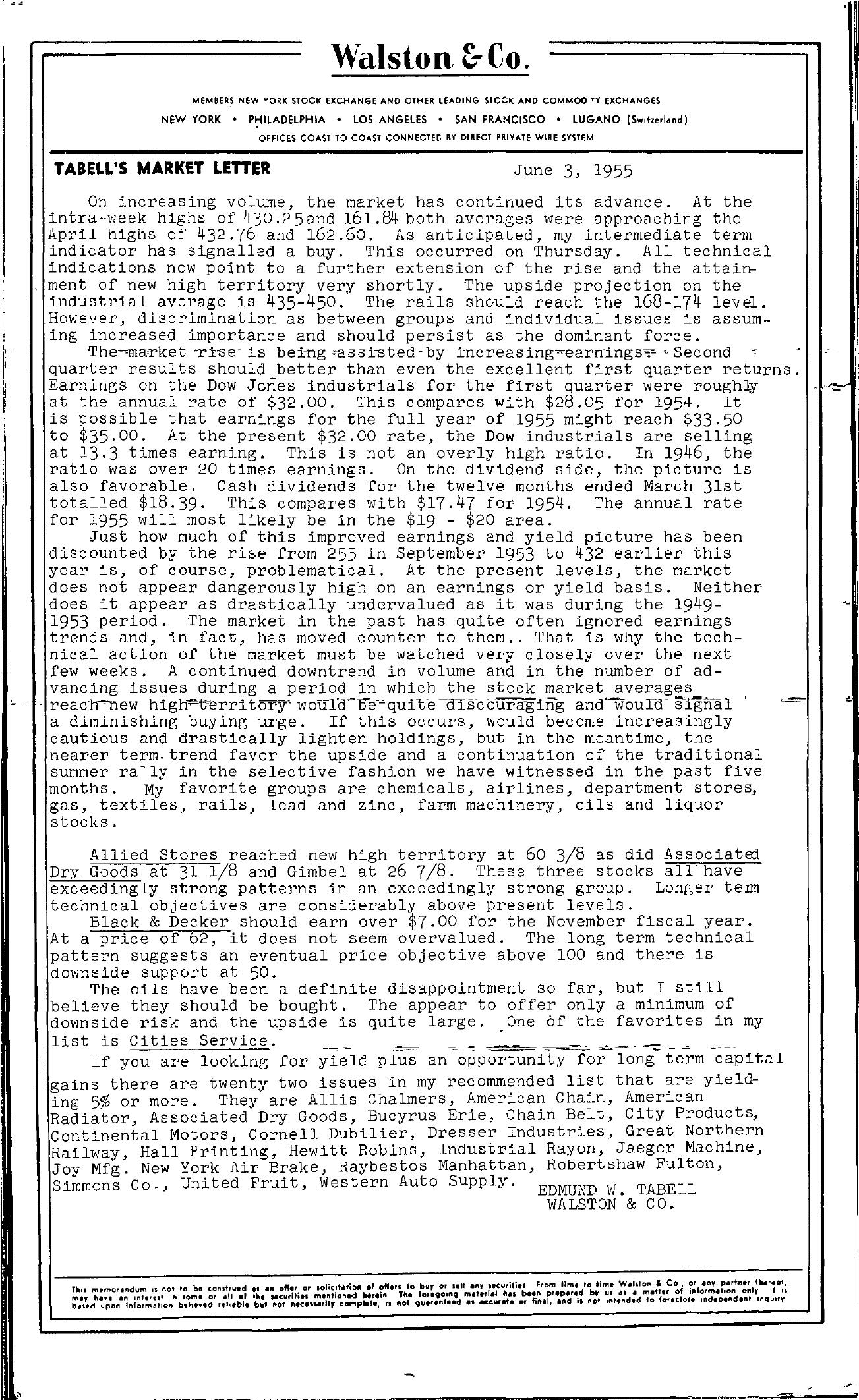 Tabell's Market Letter - June 03, 1955