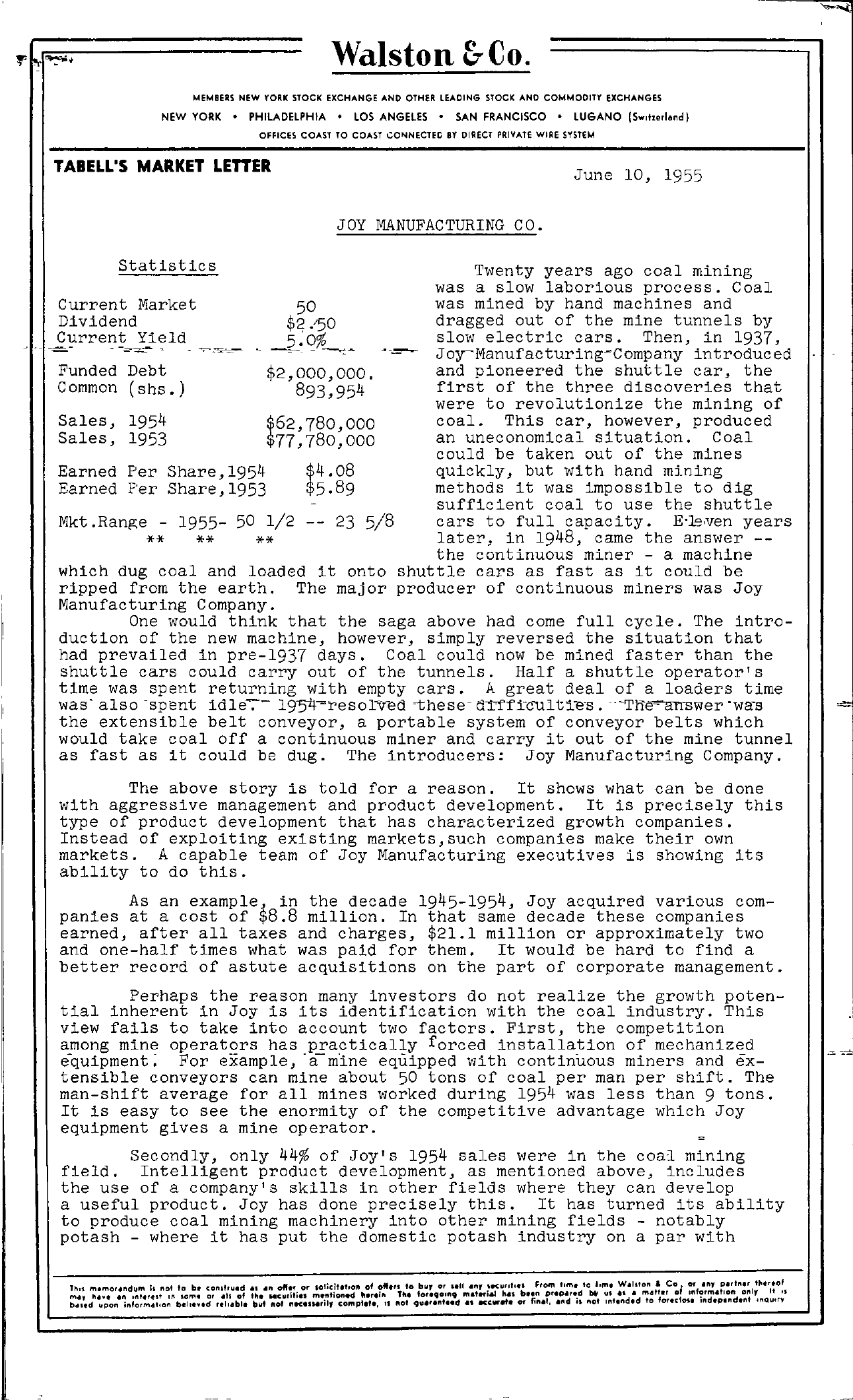 Tabell's Market Letter - June 10, 1955 page 1