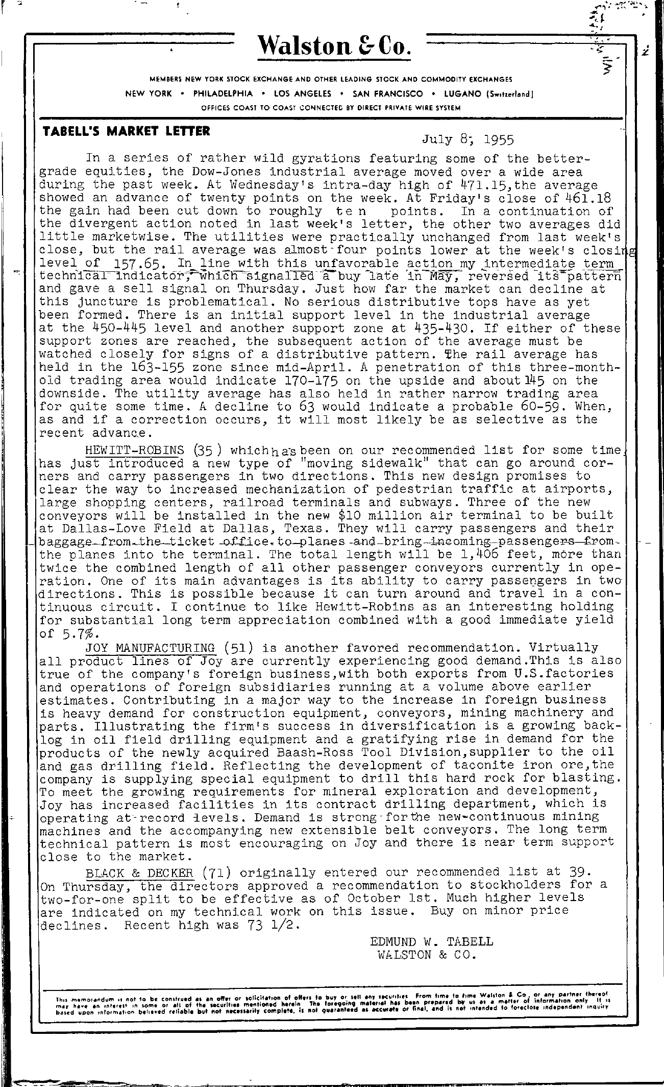 Tabell's Market Letter - July 08, 1955