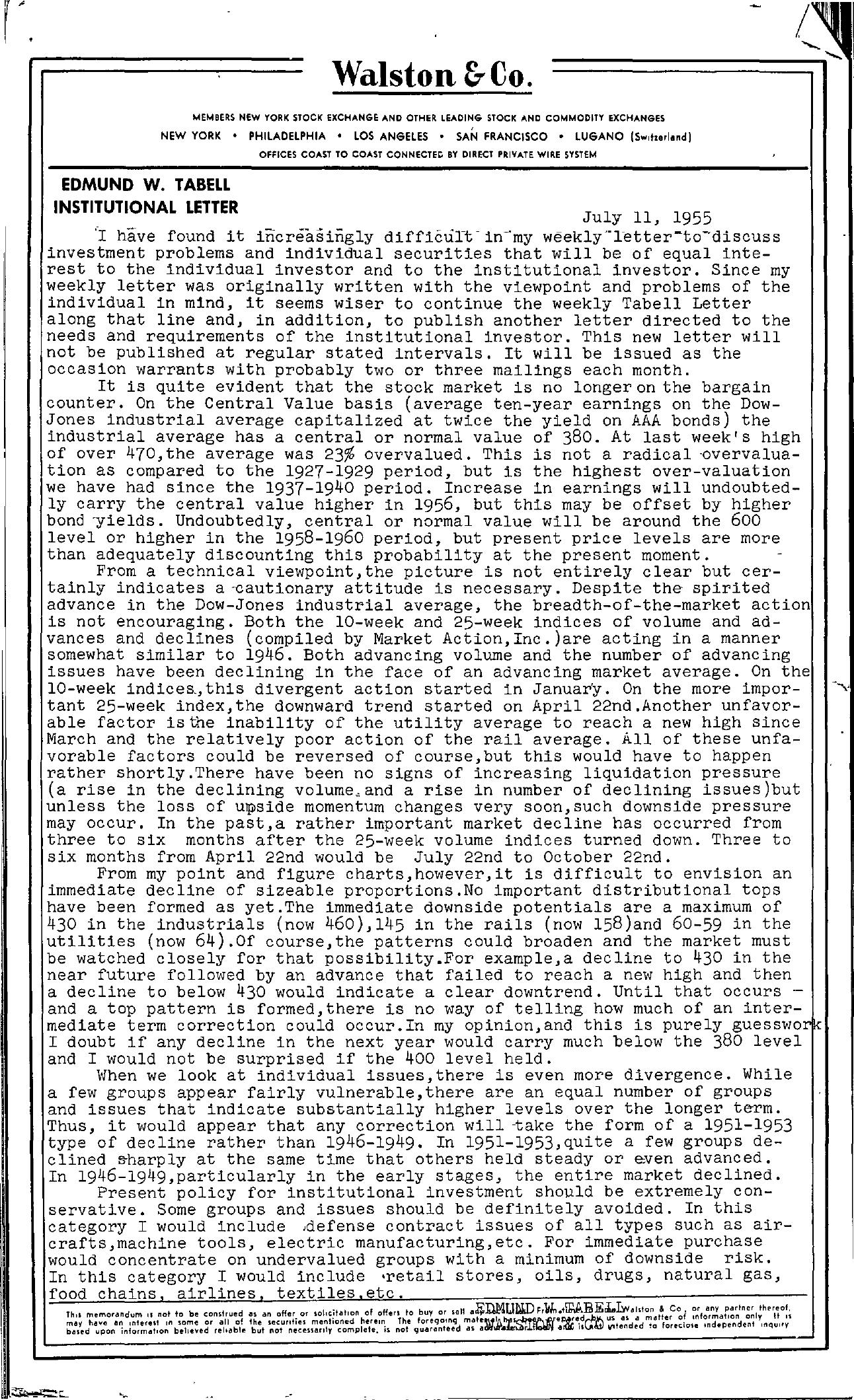 Tabell's Market Letter - July 11, 1955