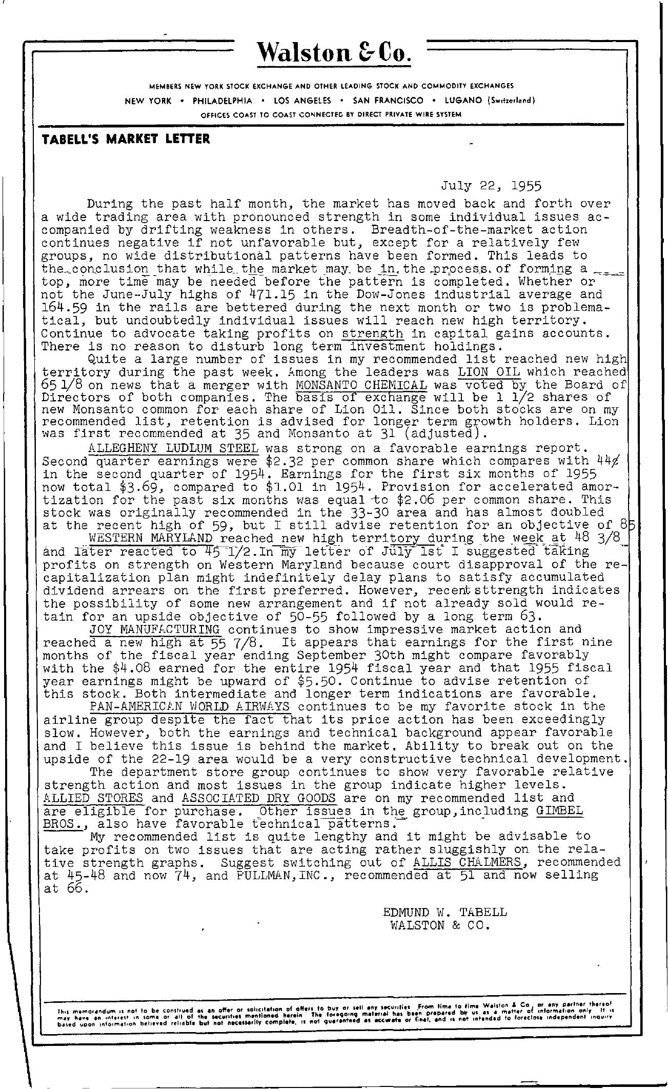 Tabell's Market Letter - July 22, 1955