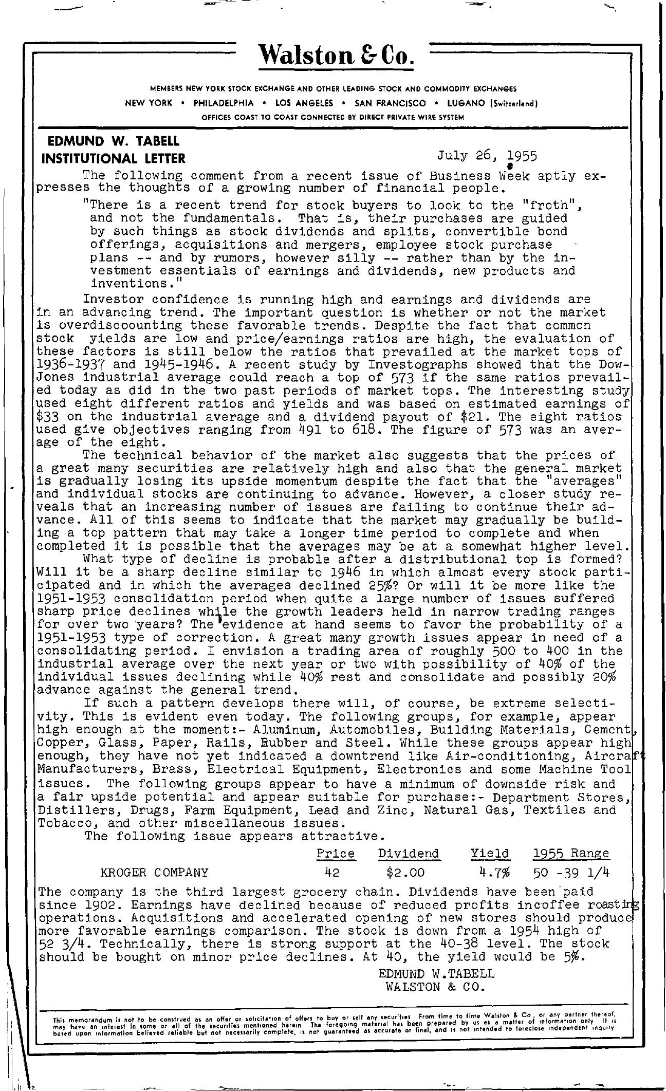 Tabell's Market Letter - July 26, 1955