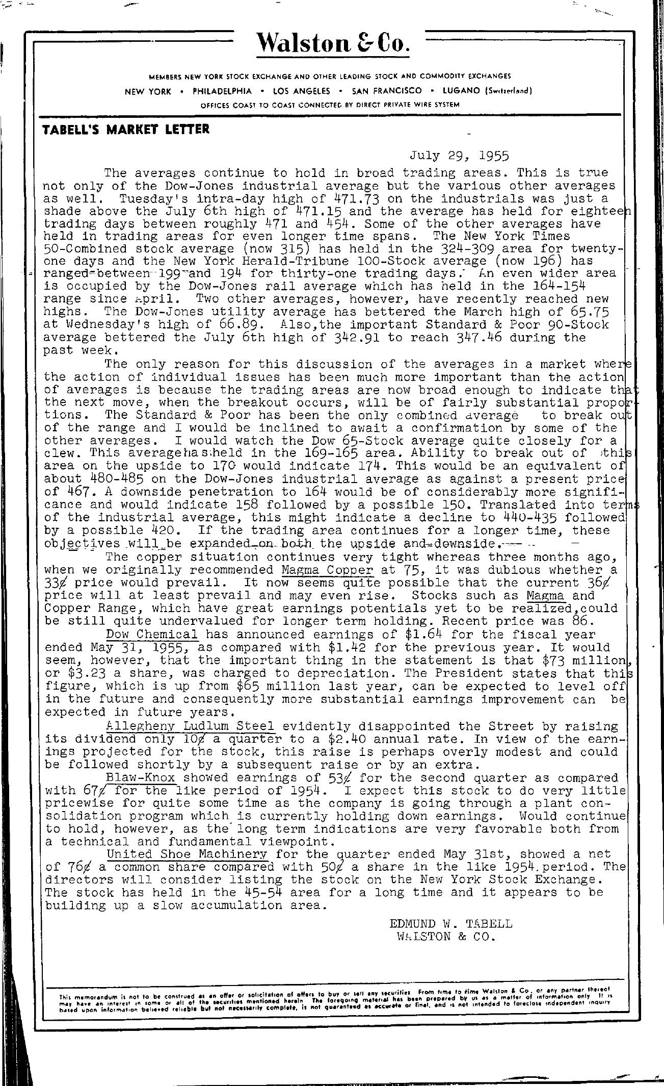 Tabell's Market Letter - July 29, 1955
