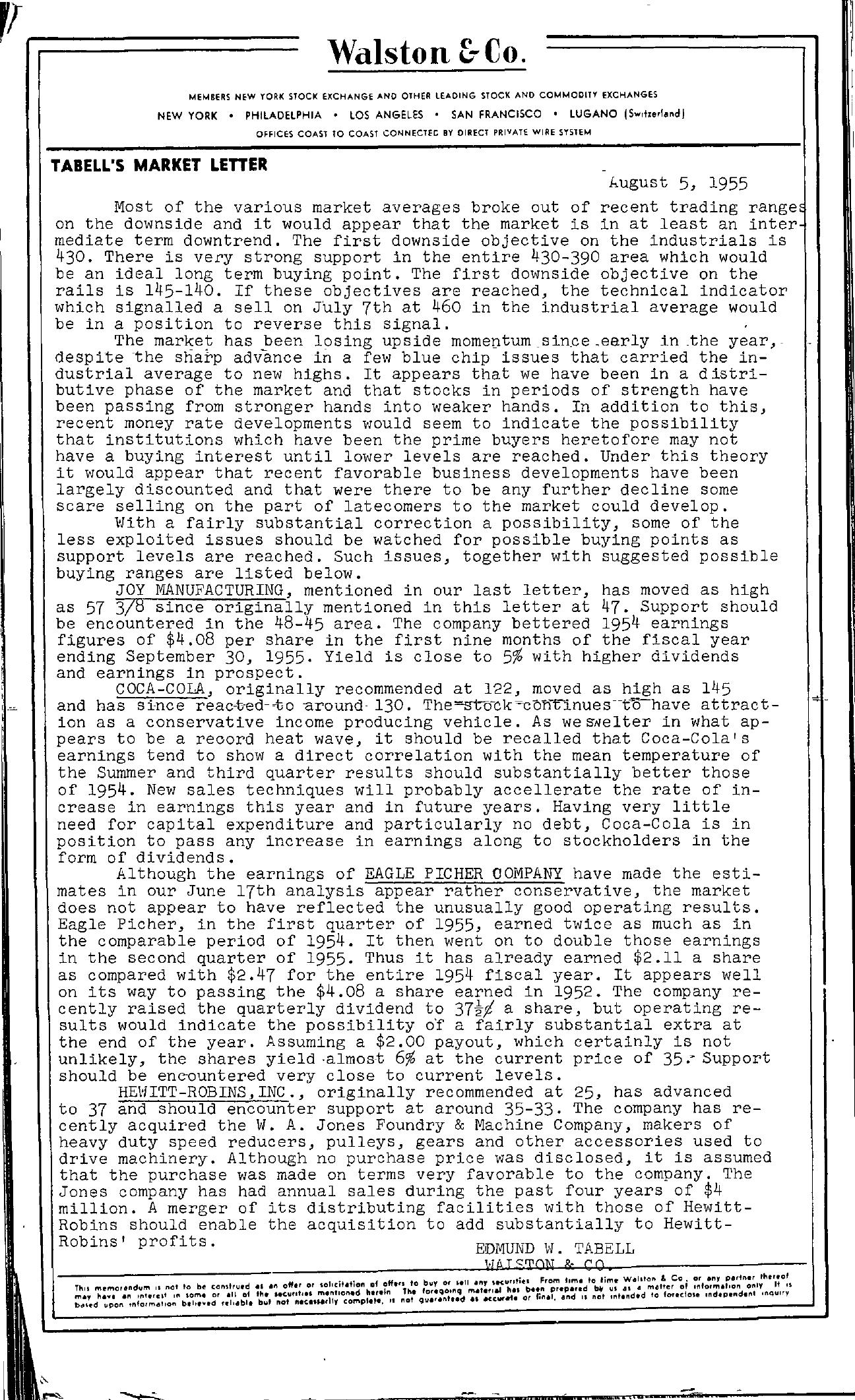 Tabell's Market Letter - August 05, 1955