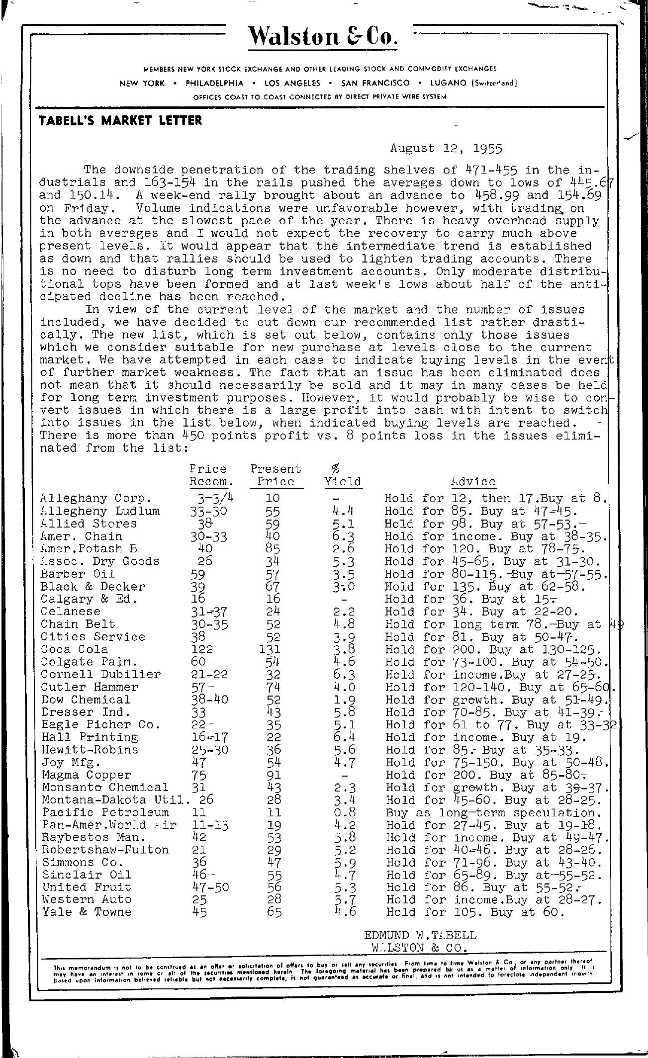 Tabell's Market Letter - August 12, 1955