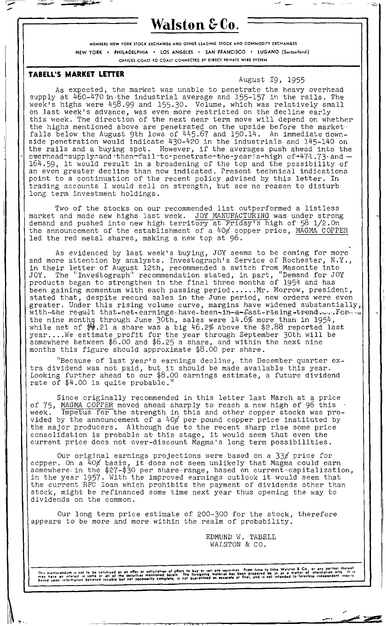 Tabell's Market Letter - August 19, 1955