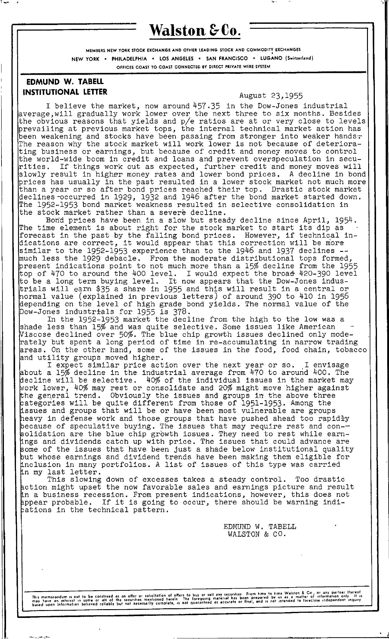 Tabell's Market Letter - August 23, 1955