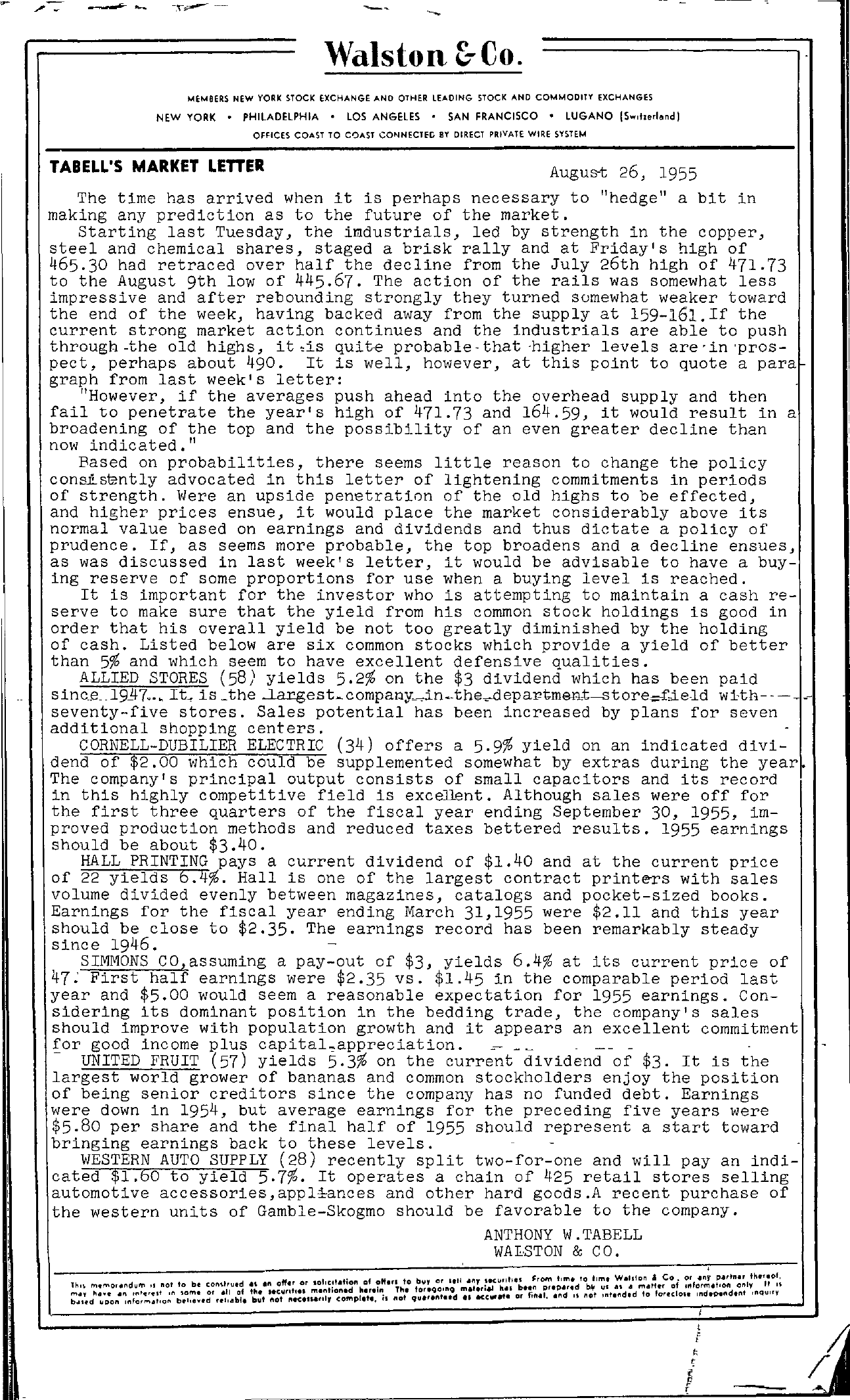 Tabell's Market Letter - August 26, 1955