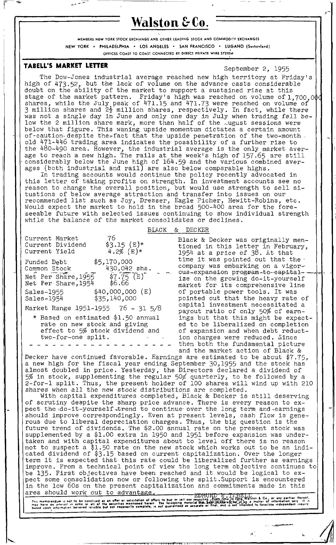 Tabell's Market Letter - September 02, 1955
