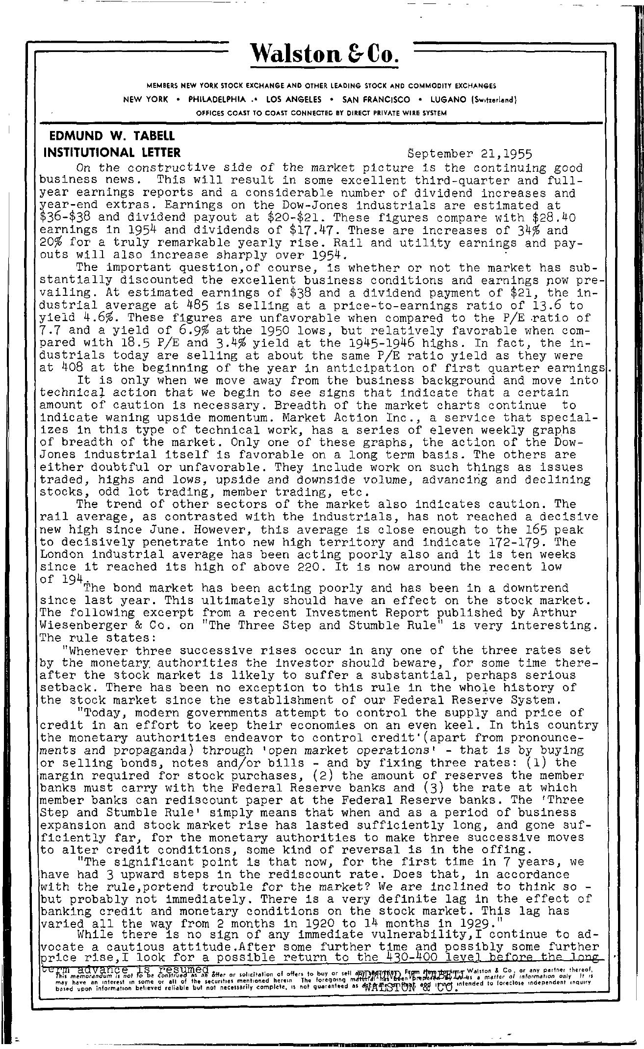 Tabell's Market Letter - September 21, 1955