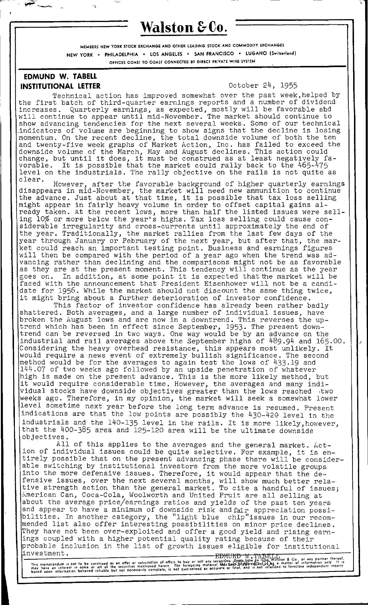 Tabell's Market Letter - October 24, 1955
