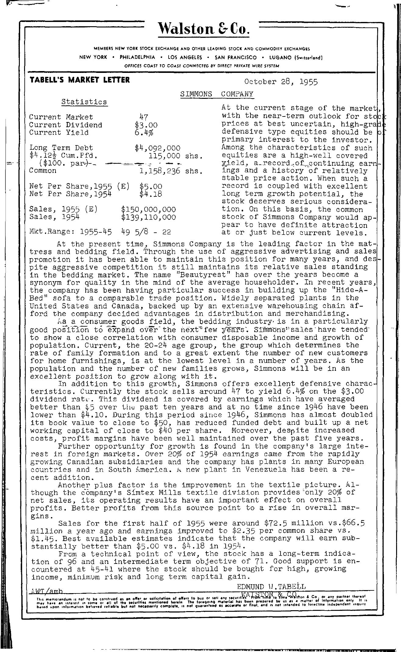 Tabell's Market Letter - October 28, 1955