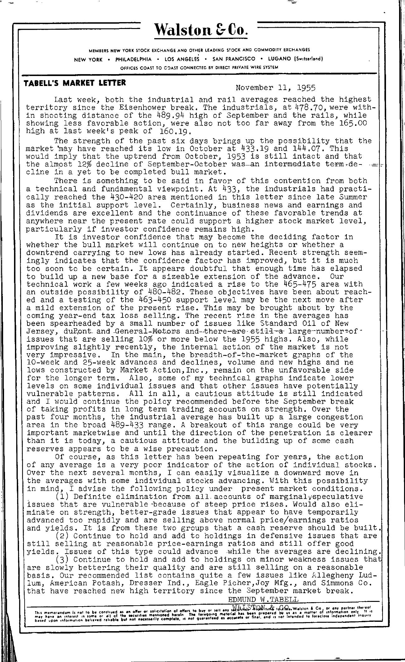 Tabell's Market Letter - November 11, 1955