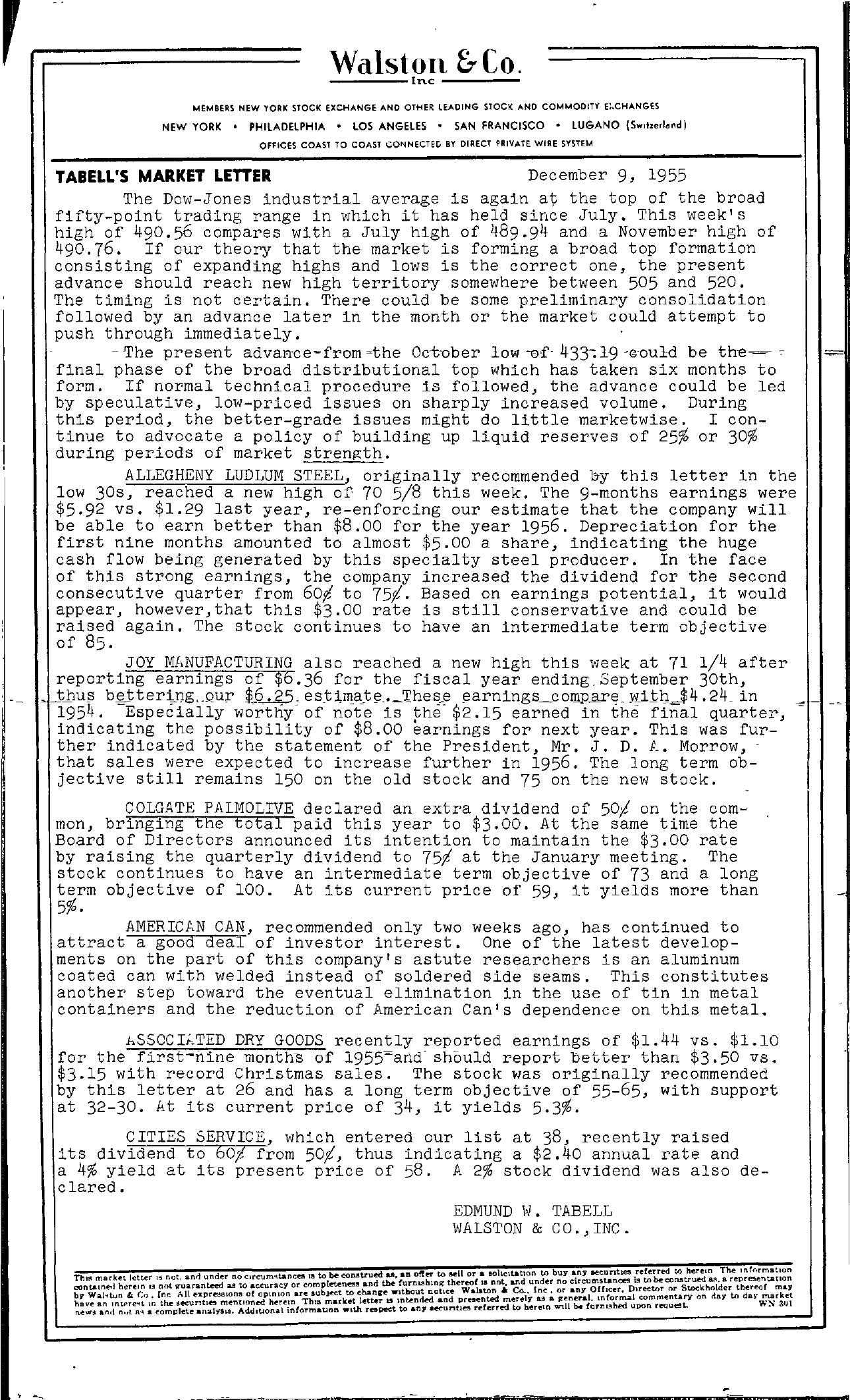 Tabell's Market Letter - December 09, 1955