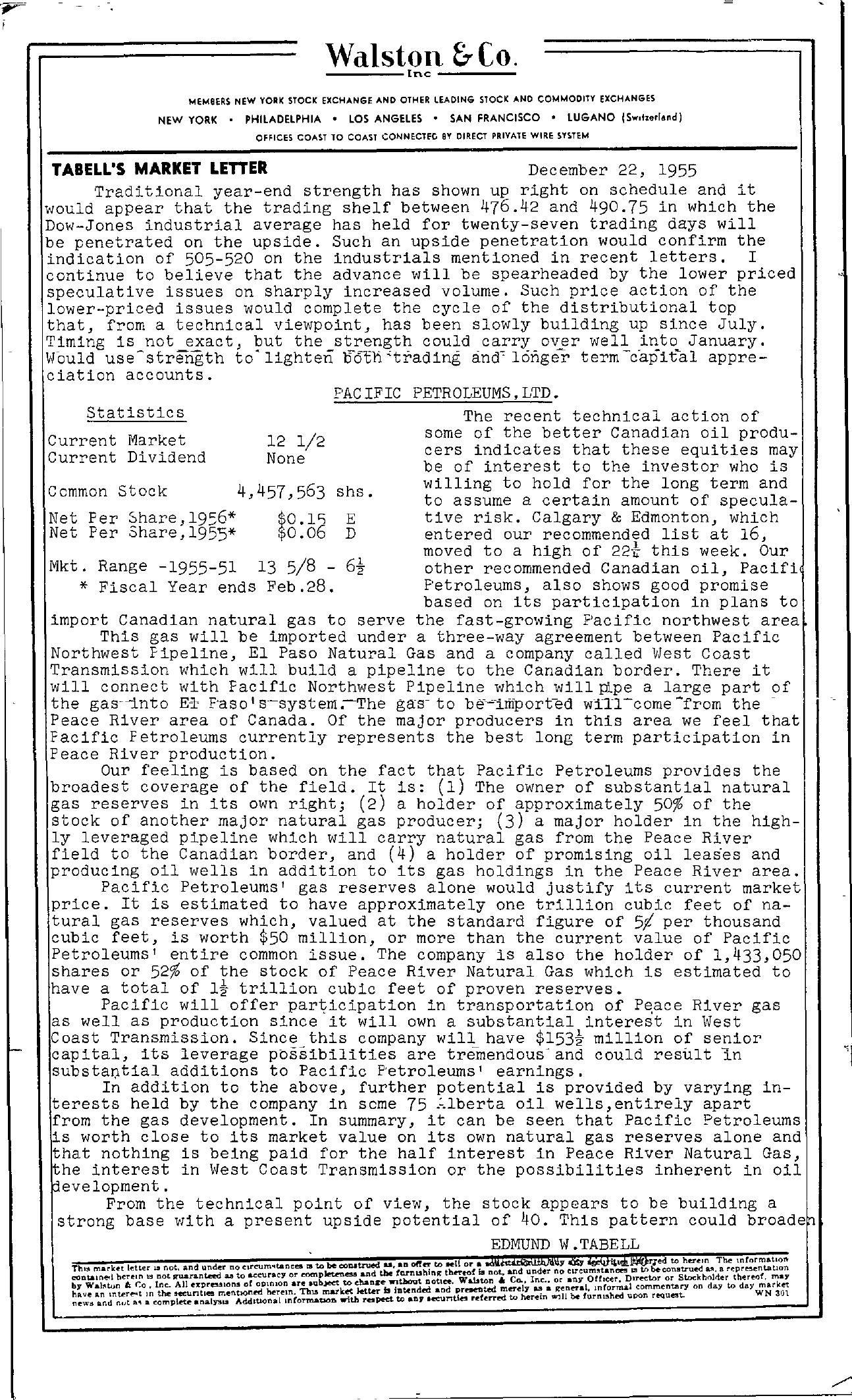 Tabell's Market Letter - December 22, 1955