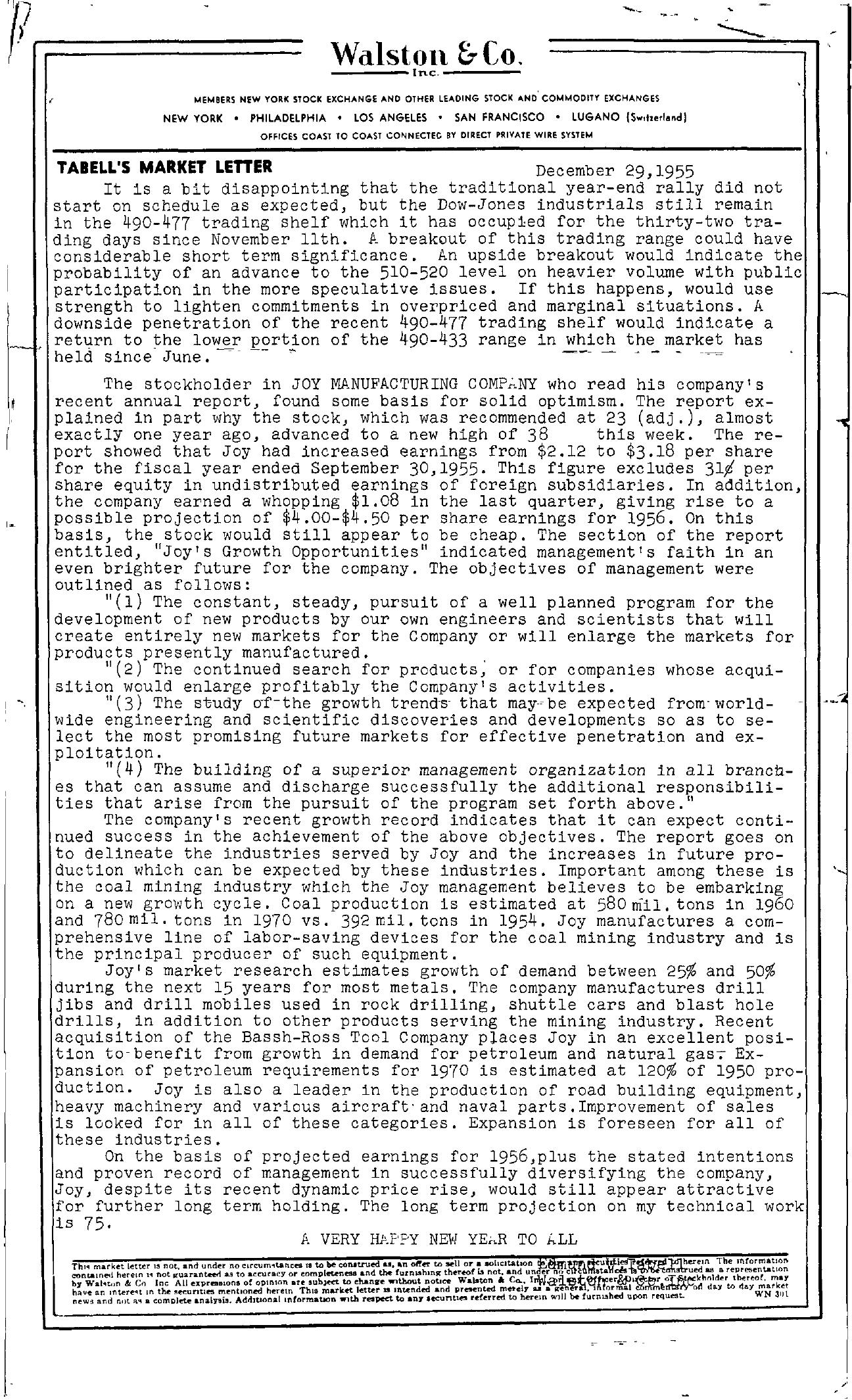 Tabell's Market Letter - December 29, 1955