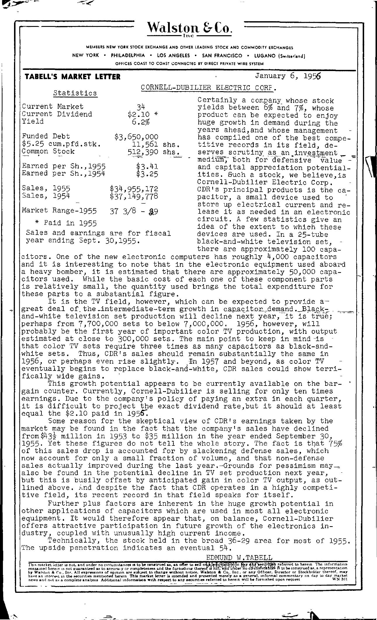 Tabell's Market Letter - January 06, 1956