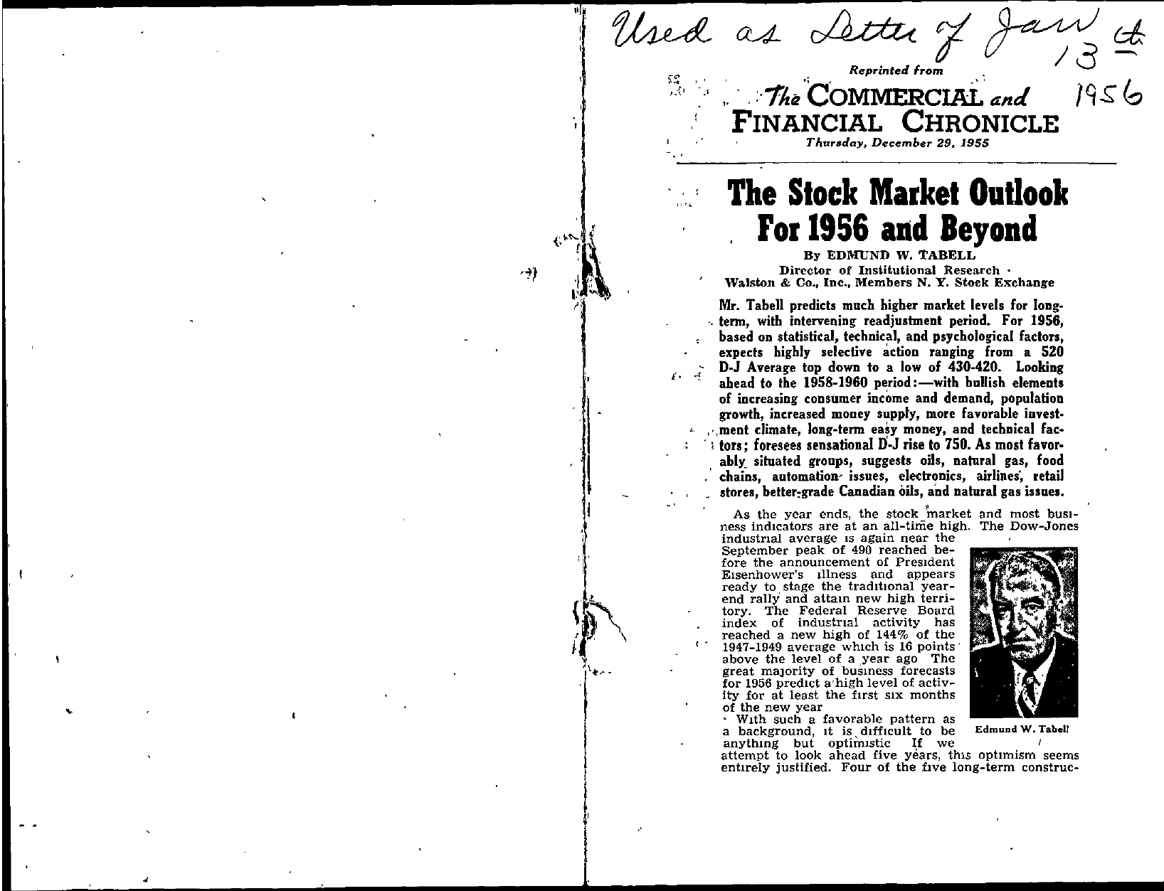 Tabell's Market Letter - January 13, 1956 page 1