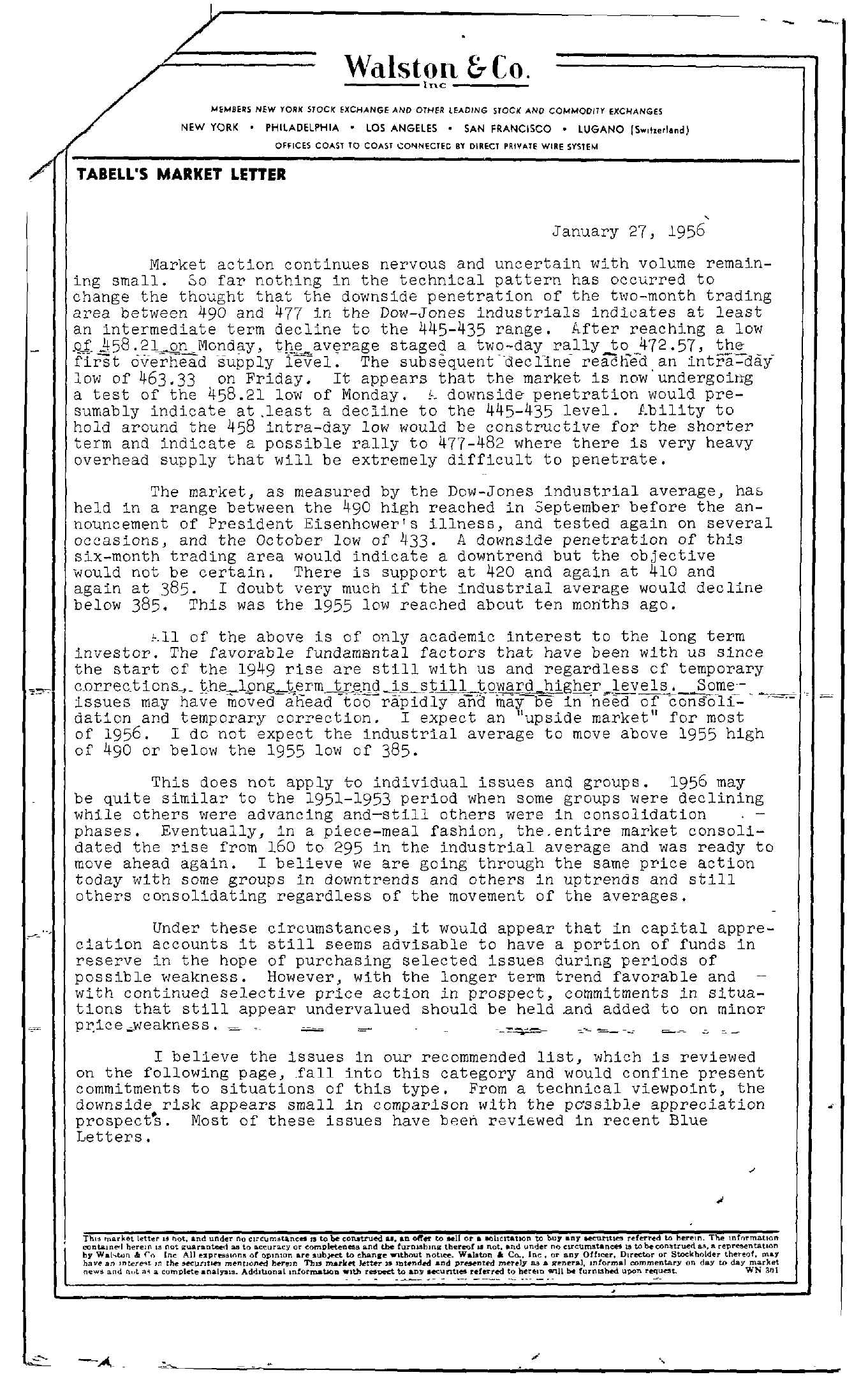 Tabell's Market Letter - January 27, 1956 page 1