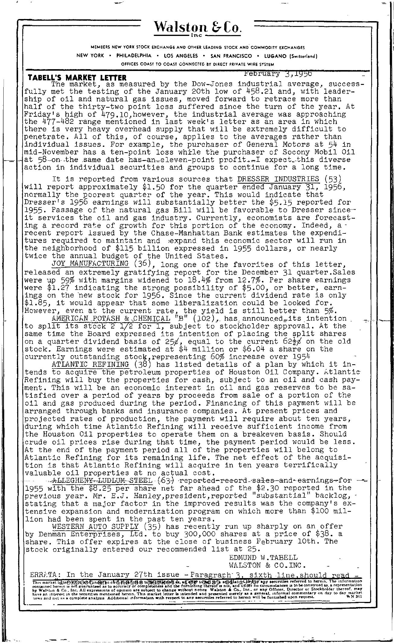 Tabell's Market Letter - February 03, 1956