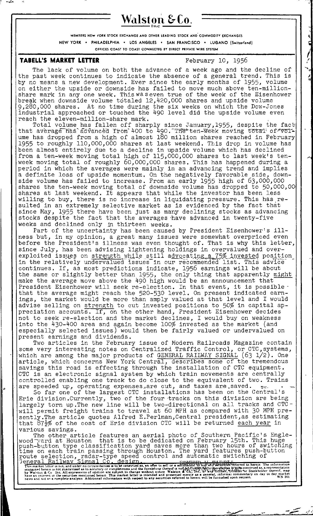 Tabell's Market Letter - February 10, 1956