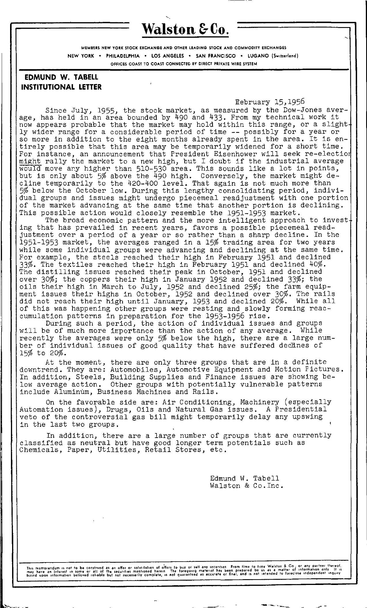 Tabell's Market Letter - February 15, 1956