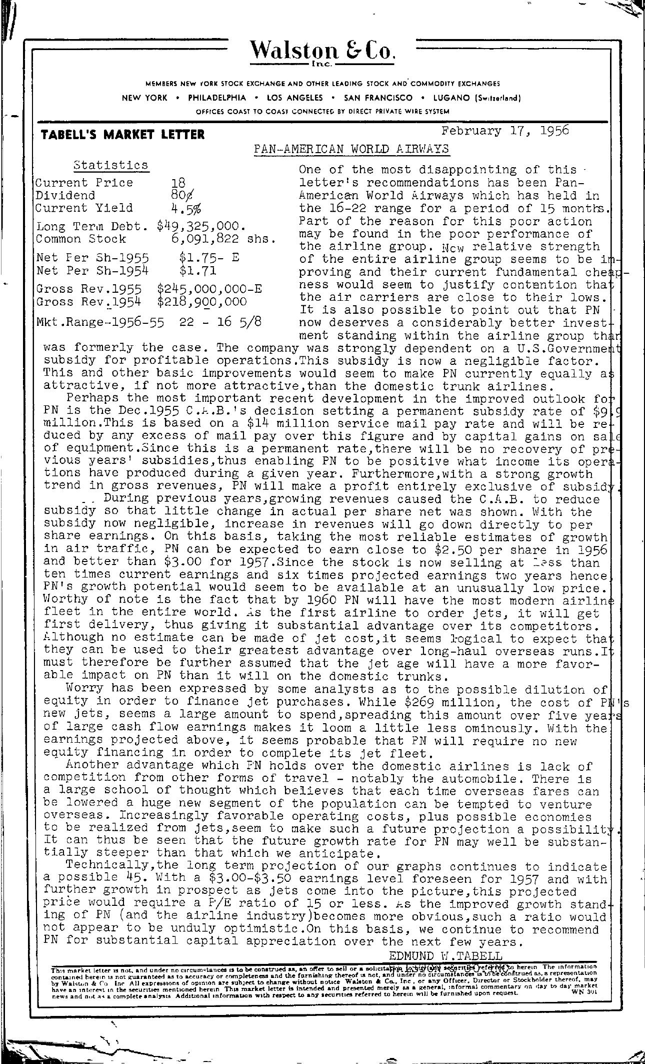 Tabell's Market Letter - February 17, 1956