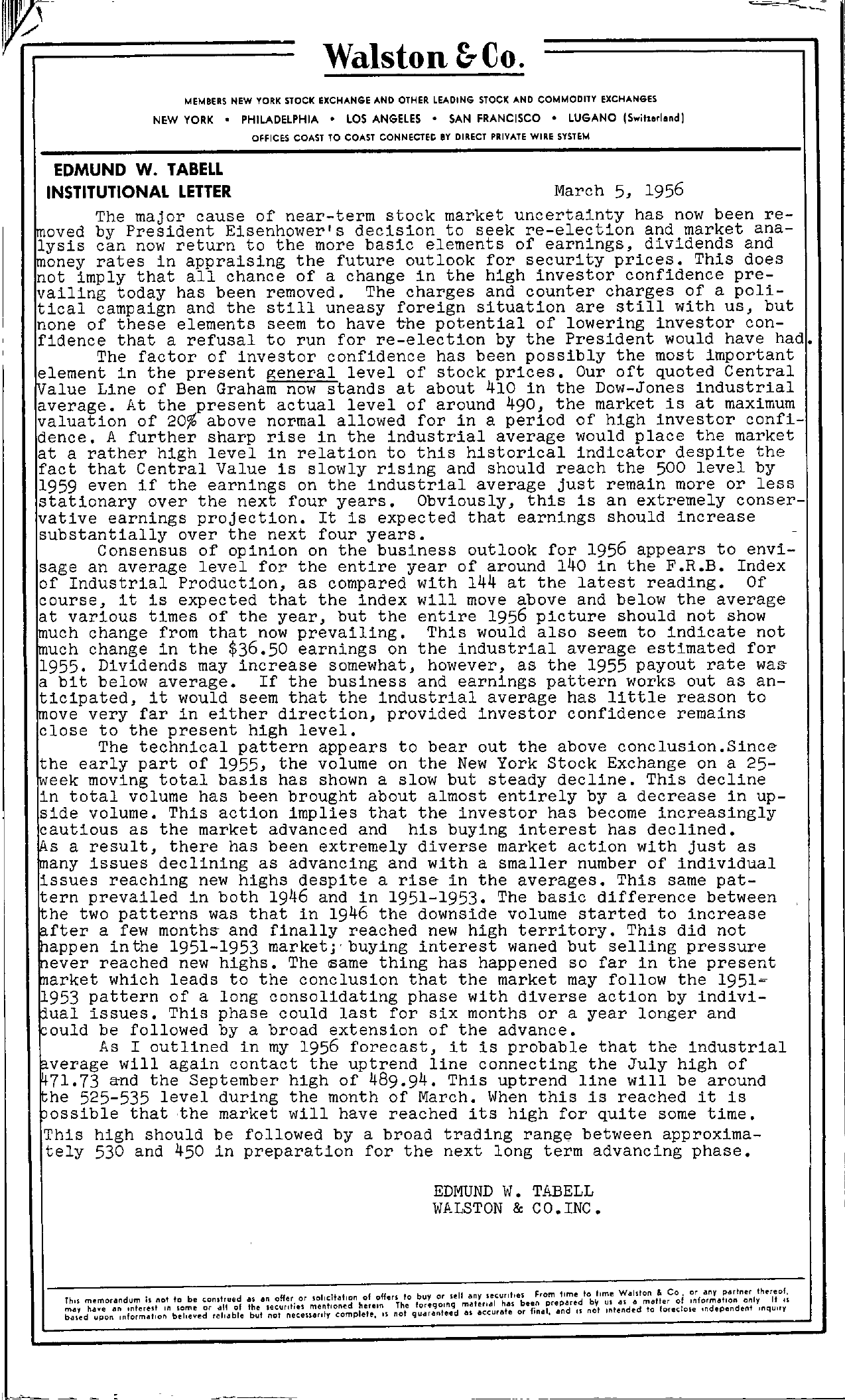 Tabell's Market Letter - March 05, 1956