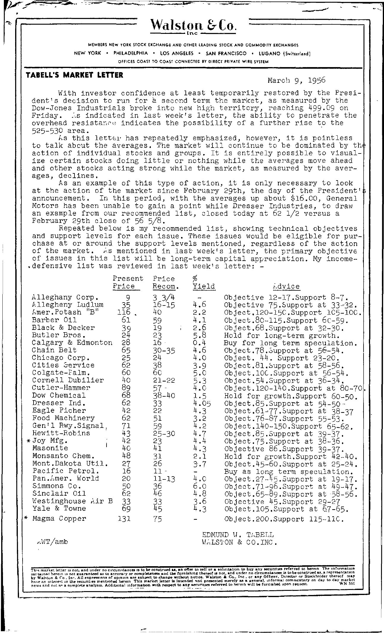 Tabell's Market Letter - March 09, 1956