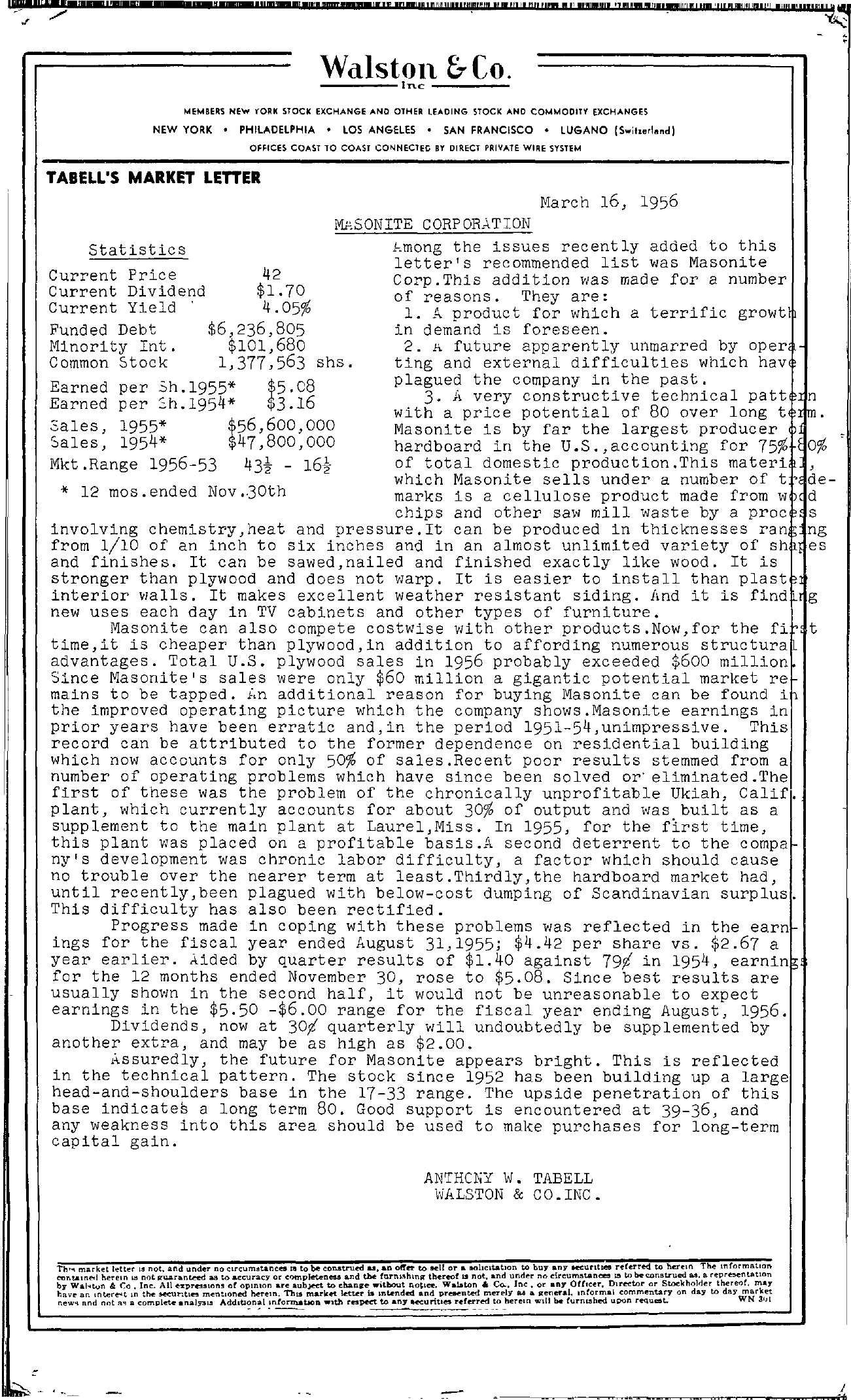 Tabell's Market Letter - March 16, 1956