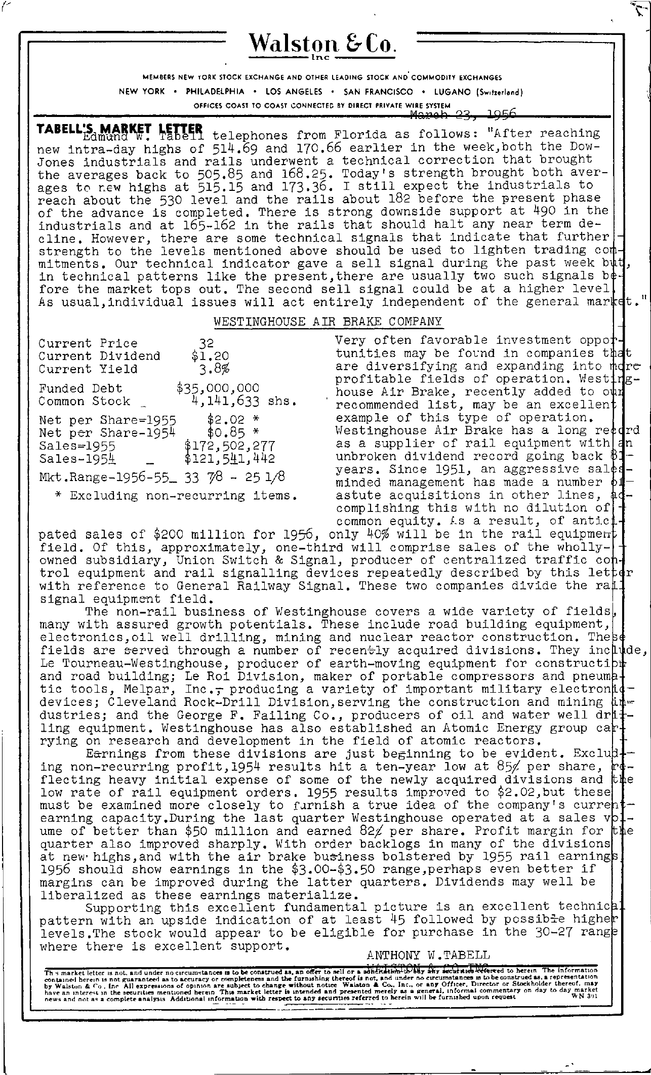 Tabell's Market Letter - March 23, 1956