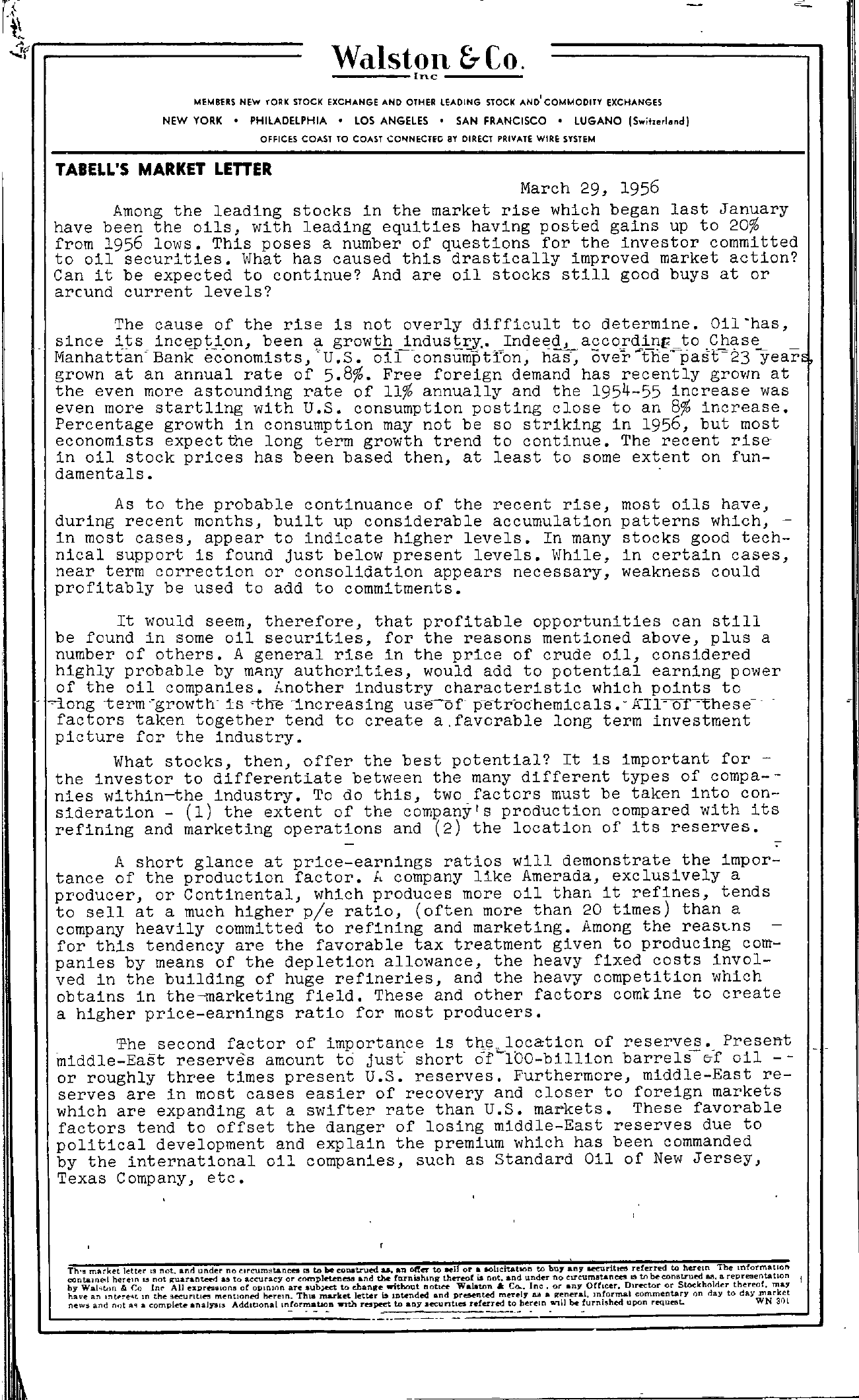 Tabell's Market Letter - March 29, 1956 page 1