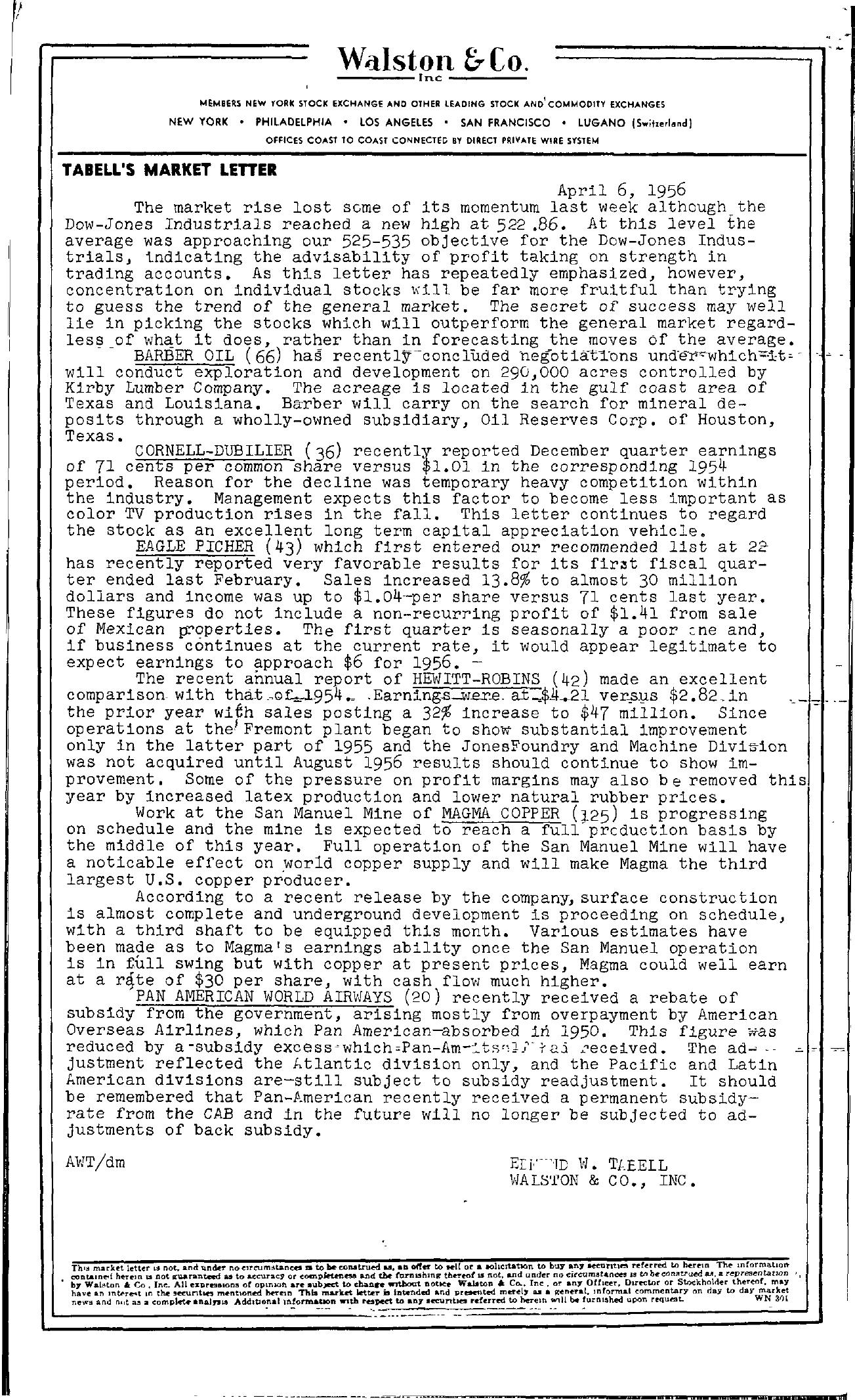 Tabell's Market Letter - April 06, 1956