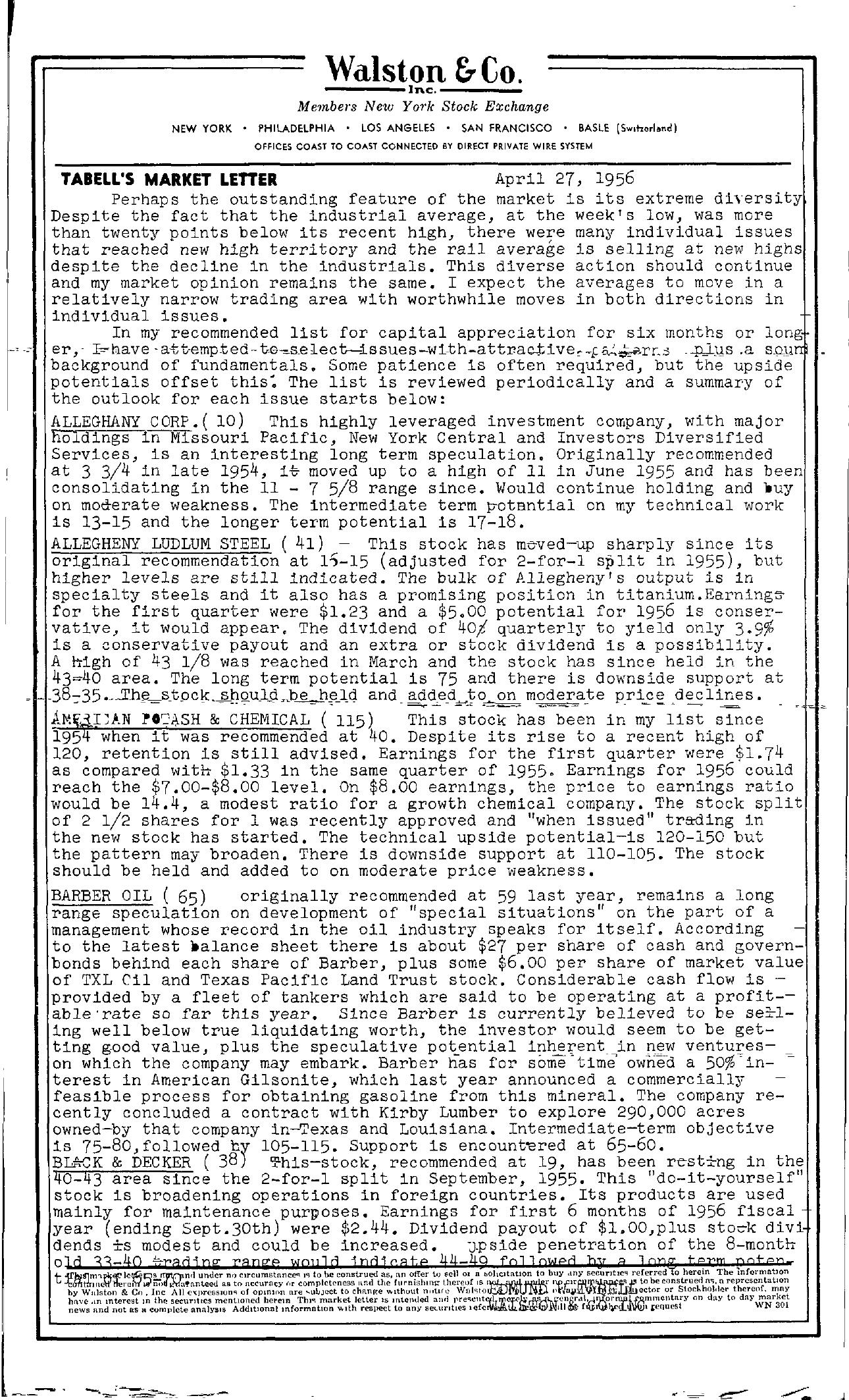 Tabell's Market Letter - April 27, 1956