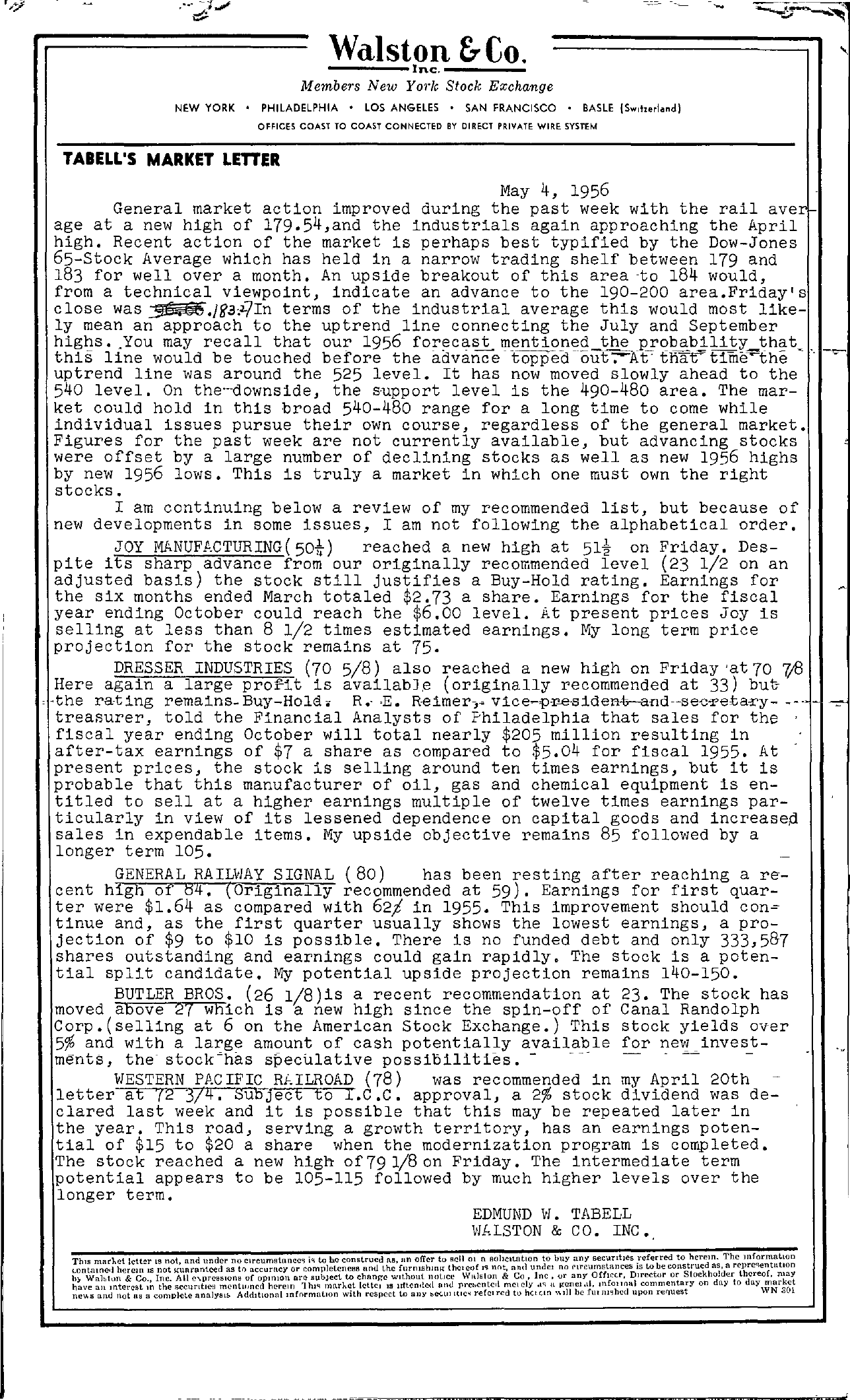 Tabell's Market Letter - May 04, 1956
