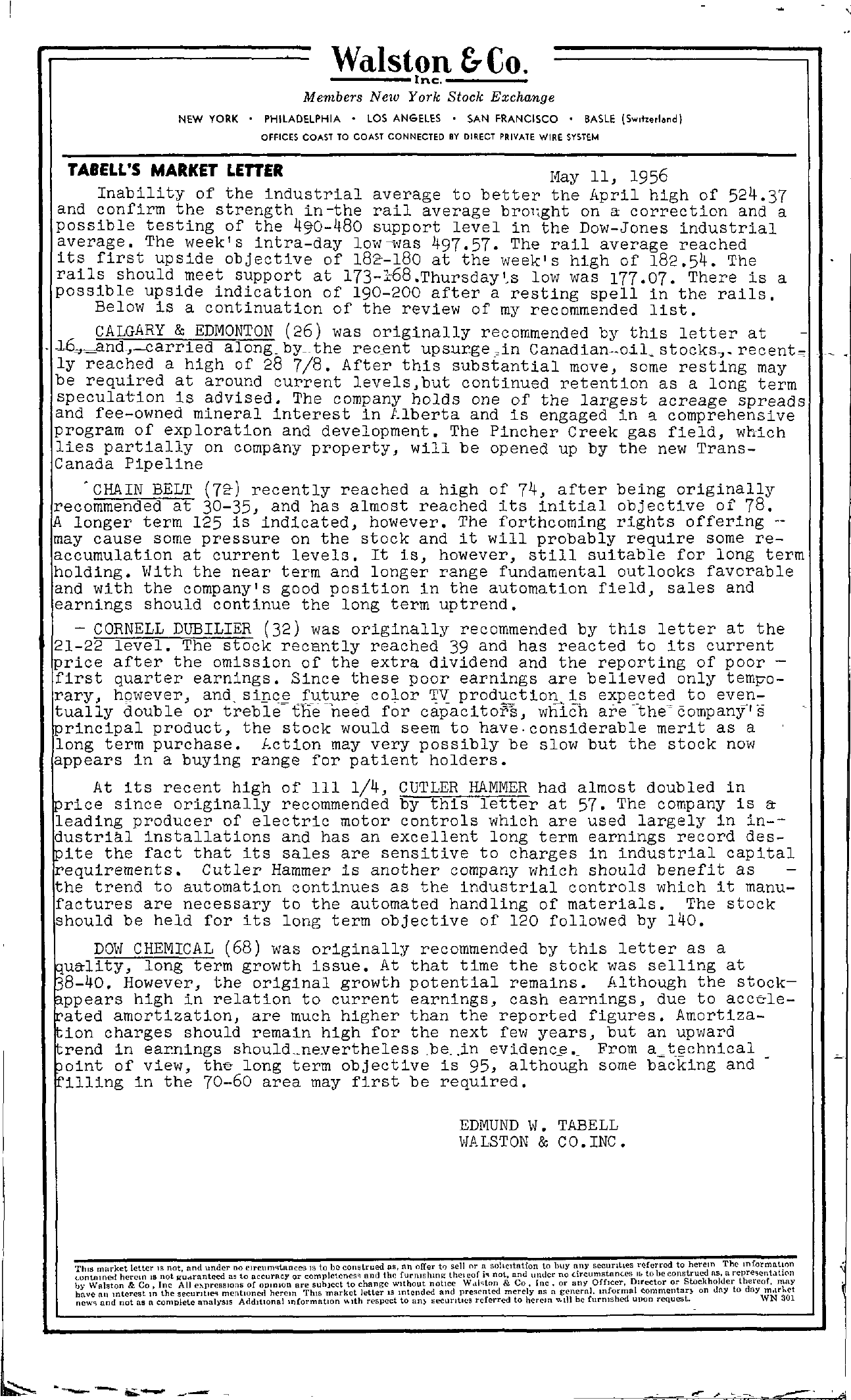 Tabell's Market Letter - May 11, 1956