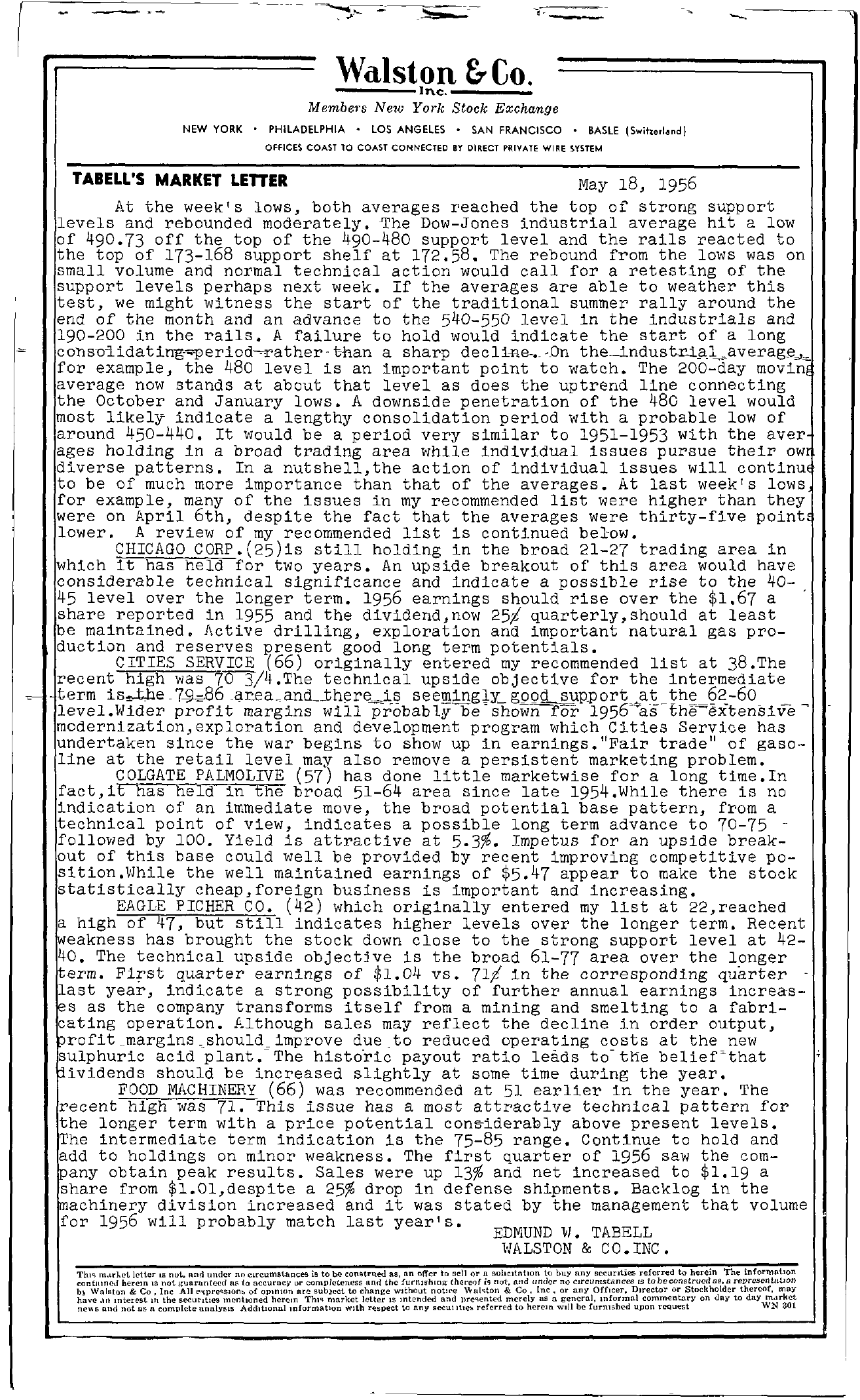 Tabell's Market Letter - May 18, 1956