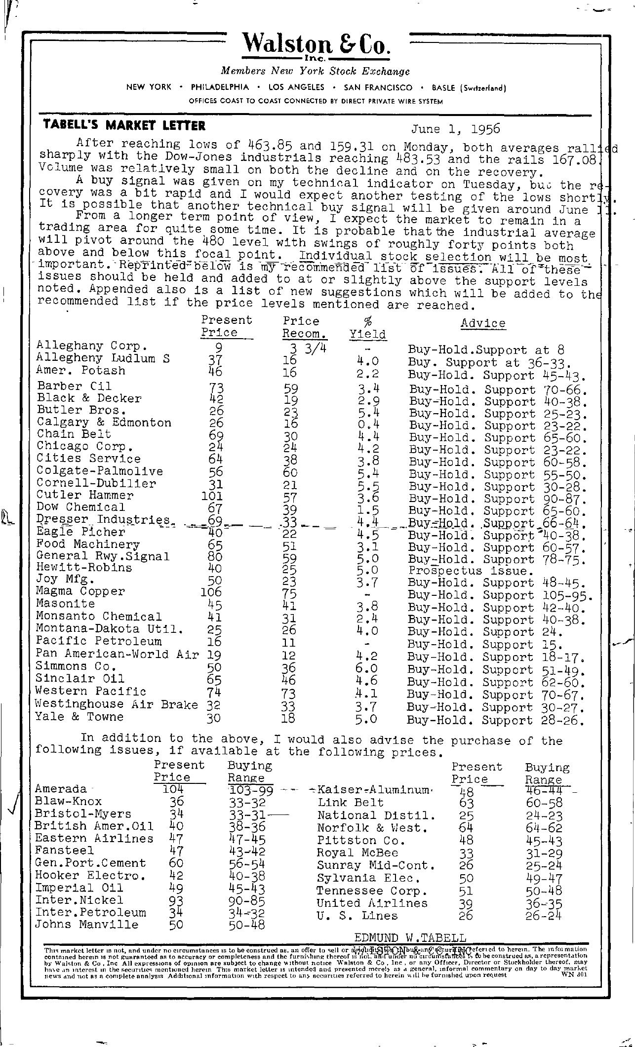 Tabell's Market Letter - June 01, 1956