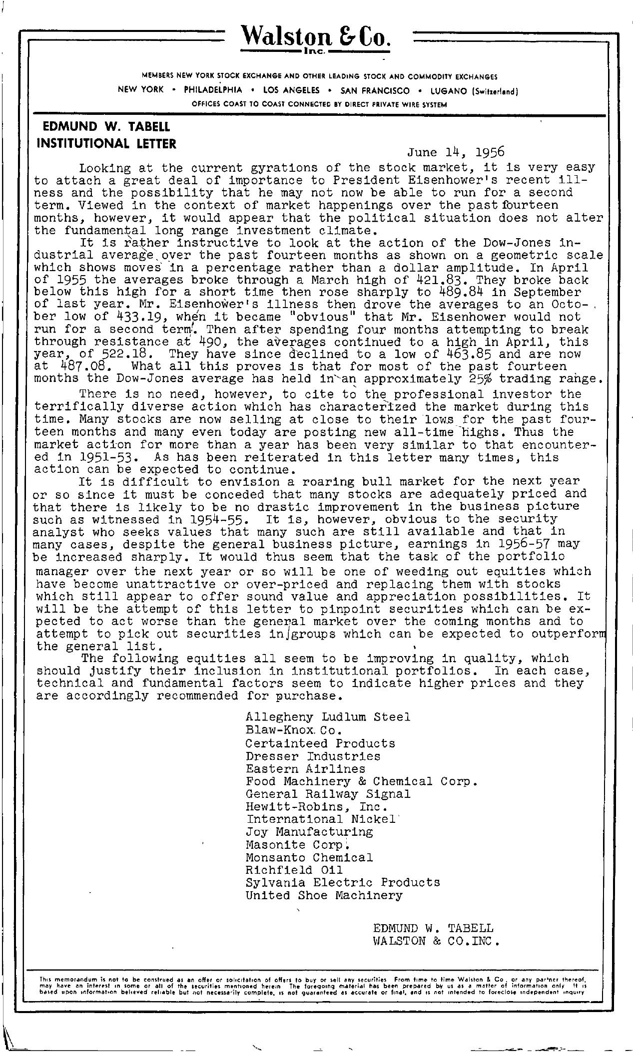 Tabell's Market Letter - June 14, 1956