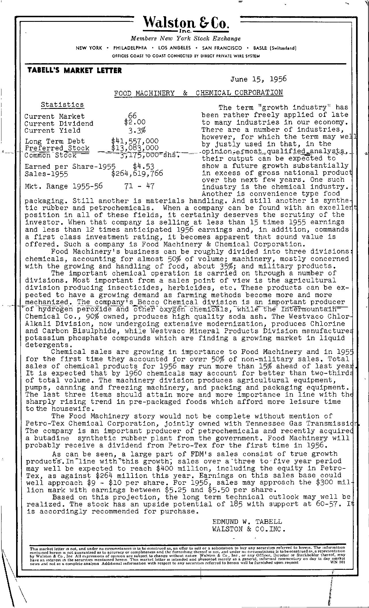 Tabell's Market Letter - June 15, 1956