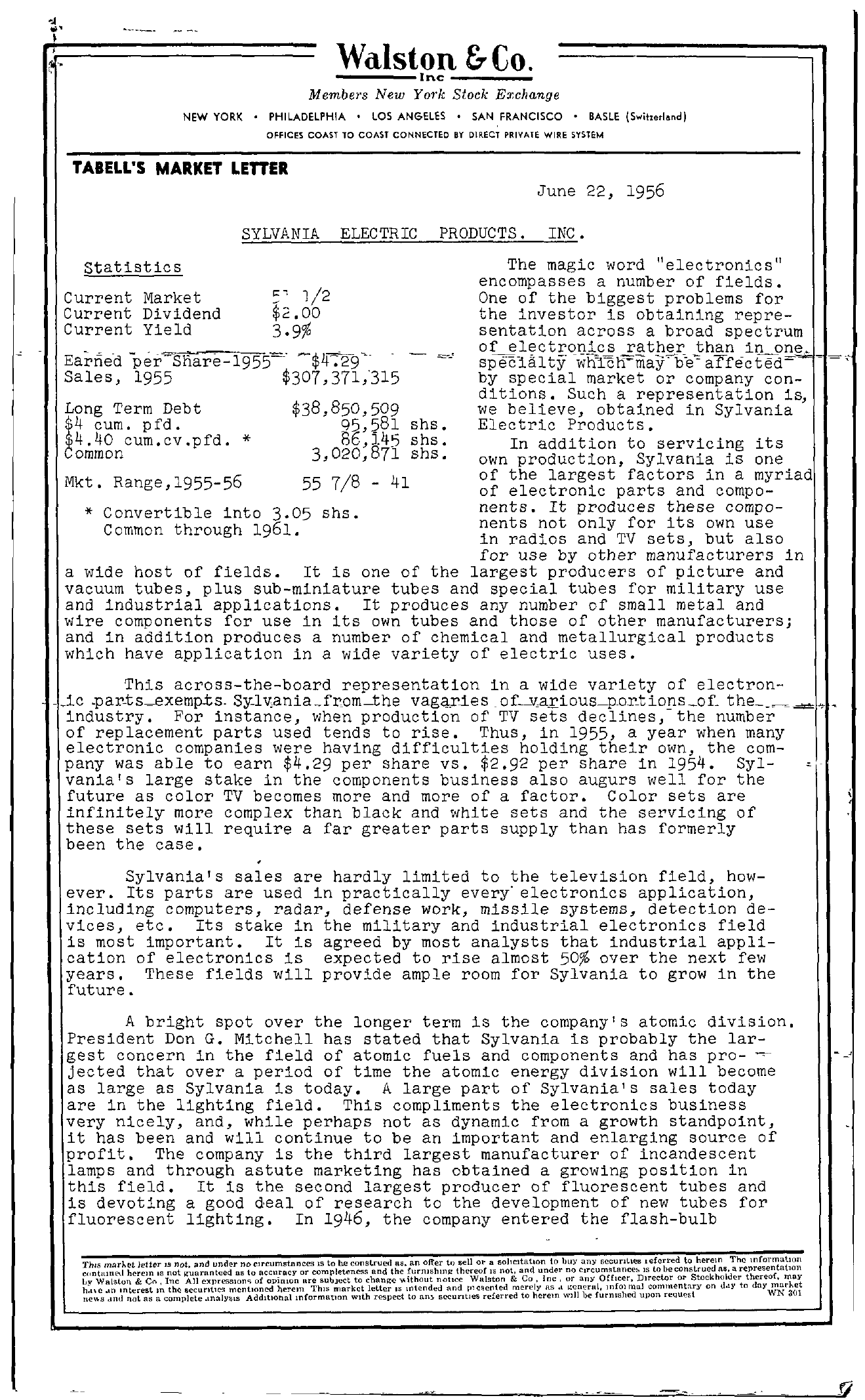 Tabell's Market Letter - June 22, 1956 page 1