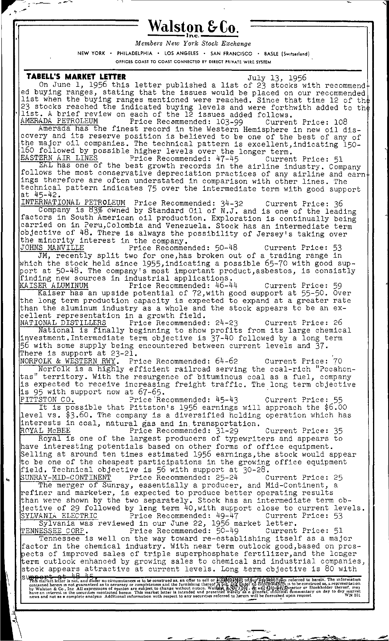 Tabell's Market Letter - July 13, 1956