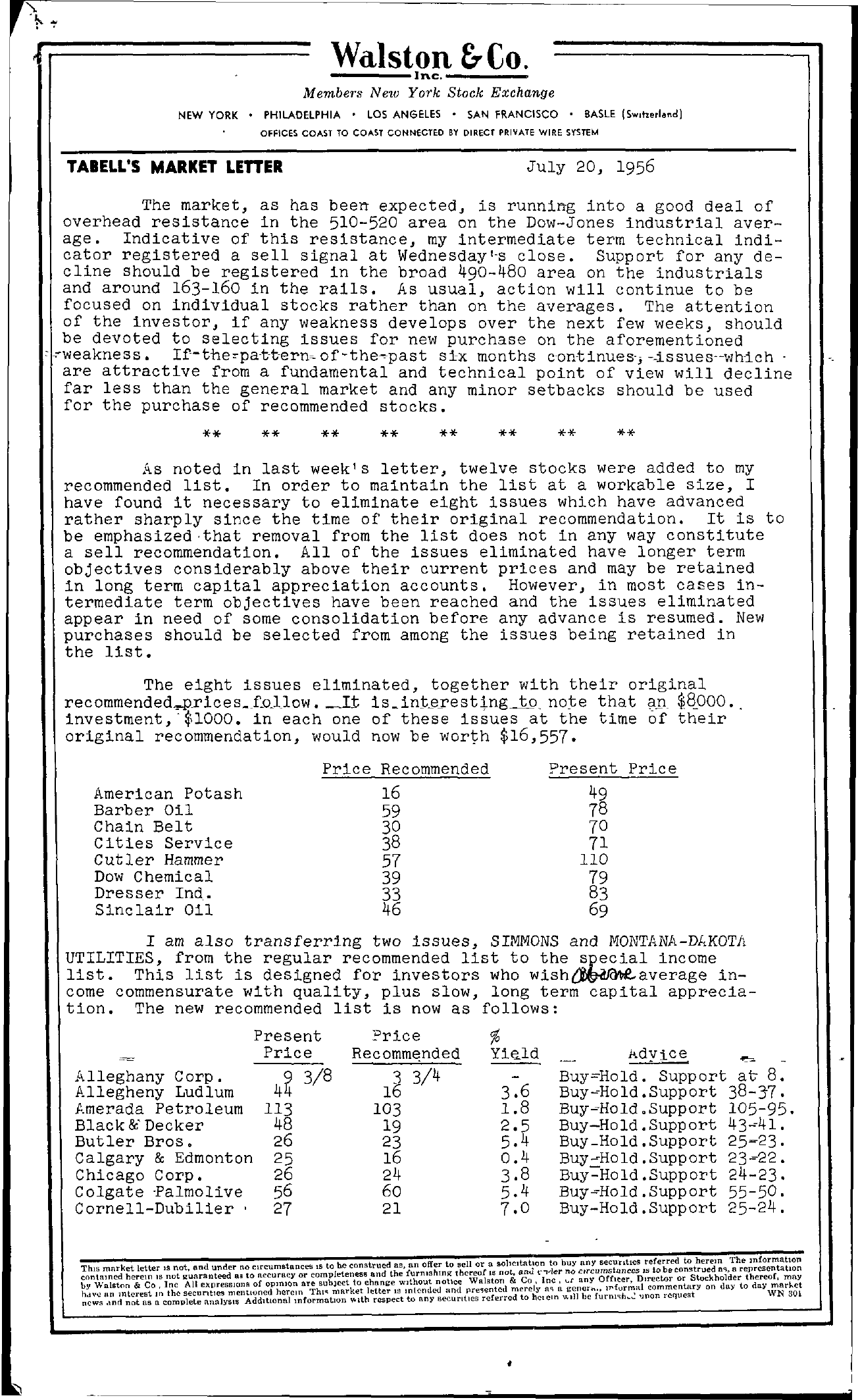 Tabell's Market Letter - July 20, 1956 page 1