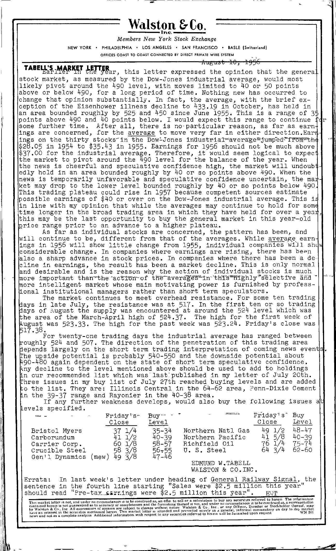 Tabell's Market Letter - August 10, 1956