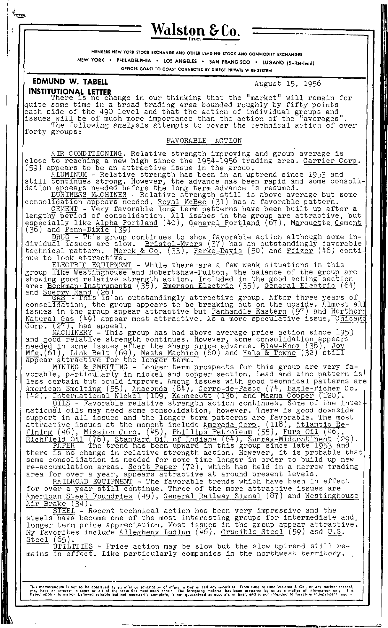 Tabell's Market Letter - August 15, 1956 page 1