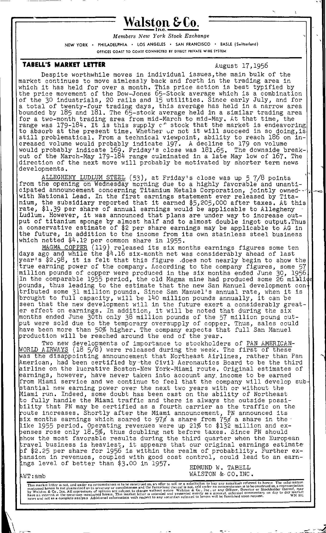 Tabell's Market Letter - August 17, 1956