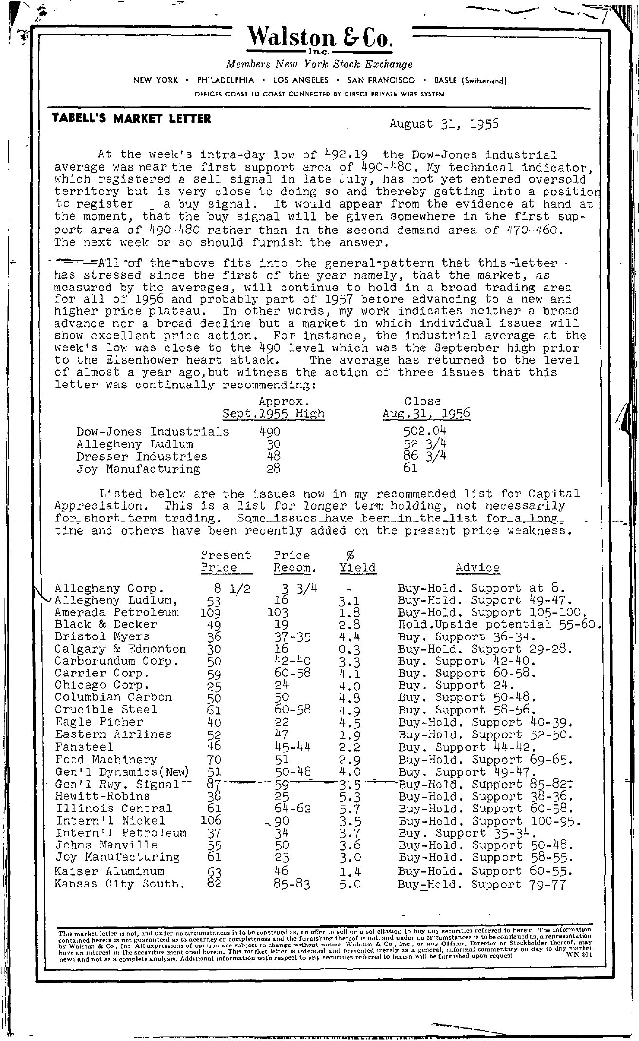 Tabell's Market Letter - August 31, 1956 page 1