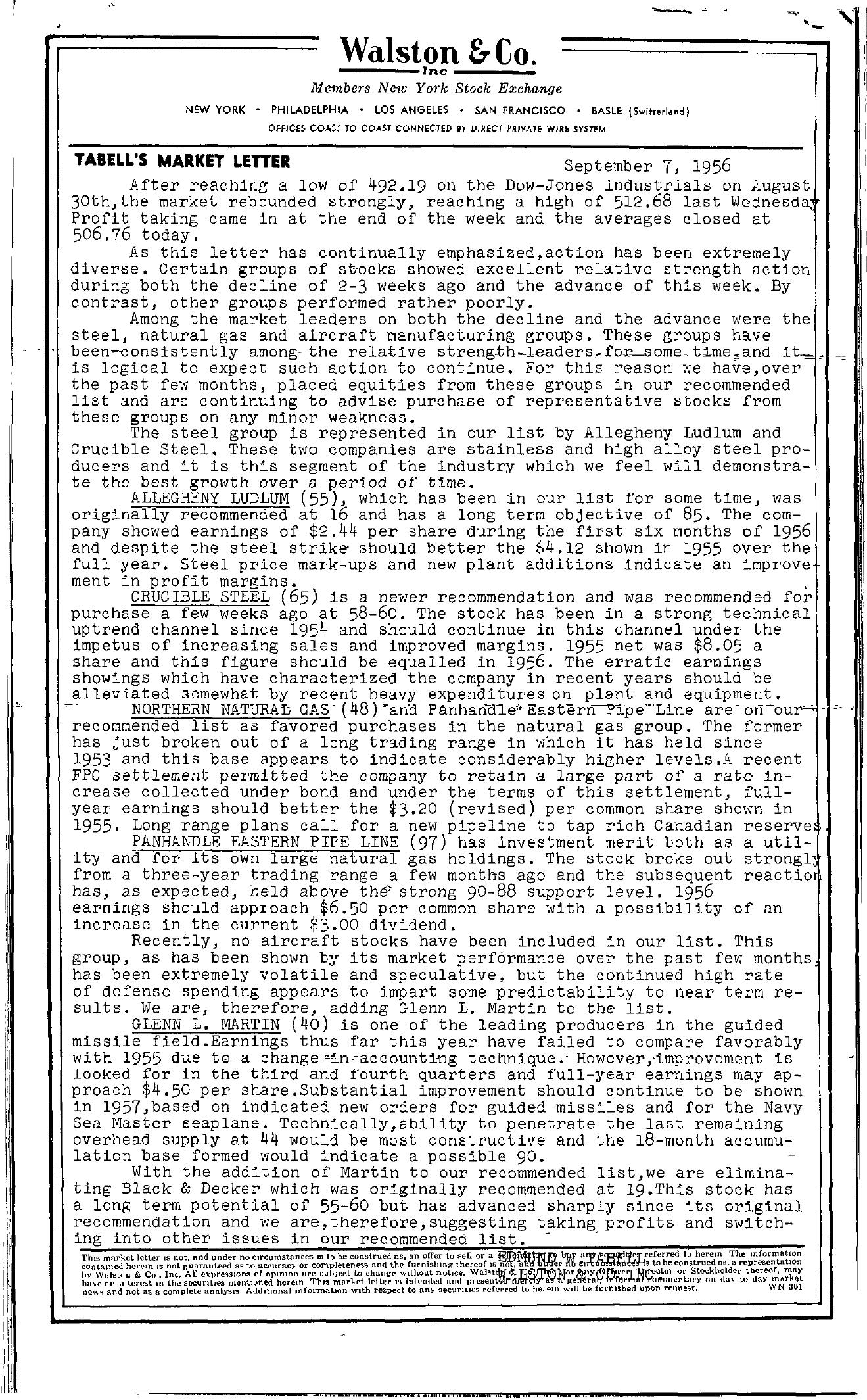 Tabell's Market Letter - September 07, 1956