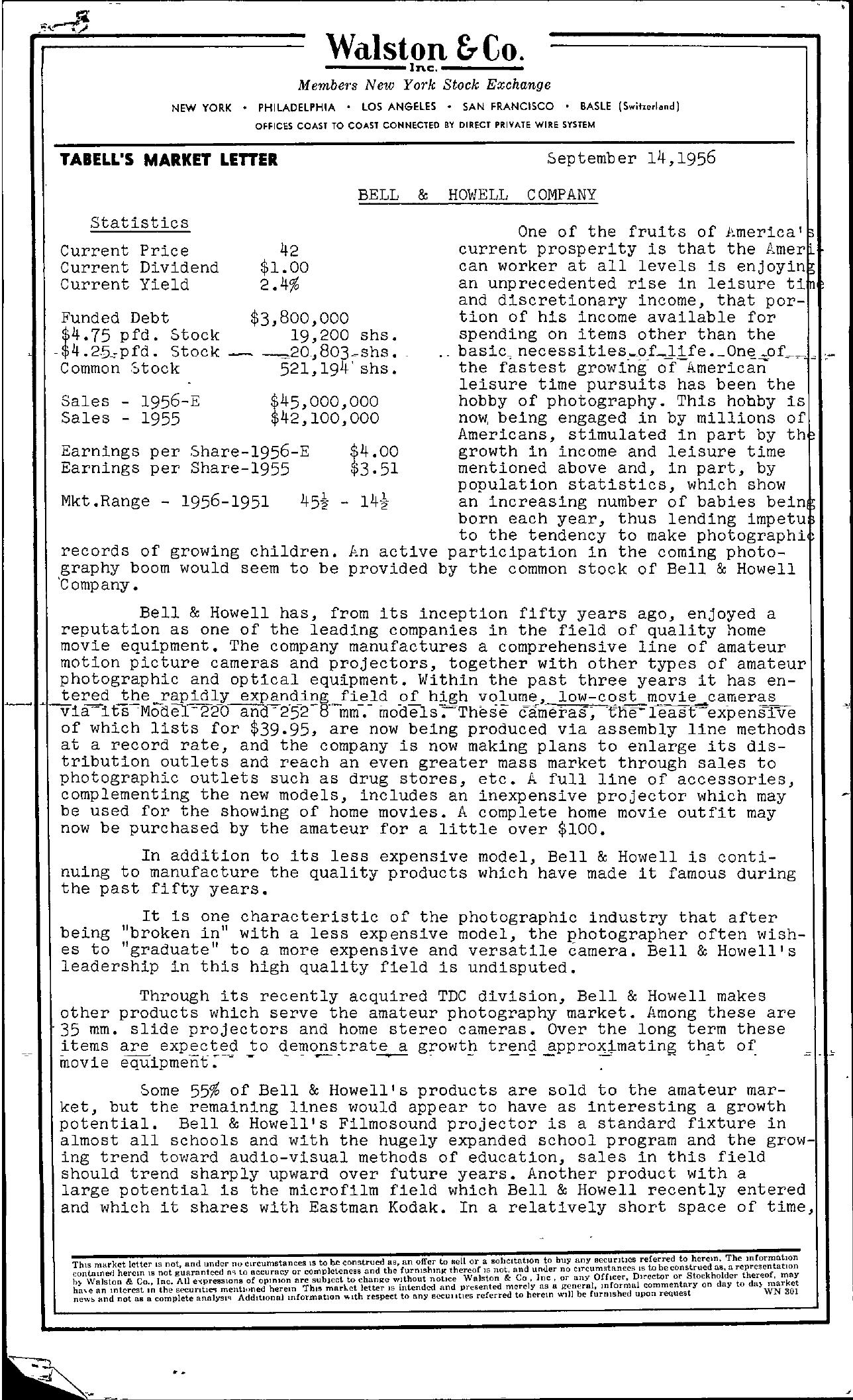 Tabell's Market Letter - September 14, 1956 page 1